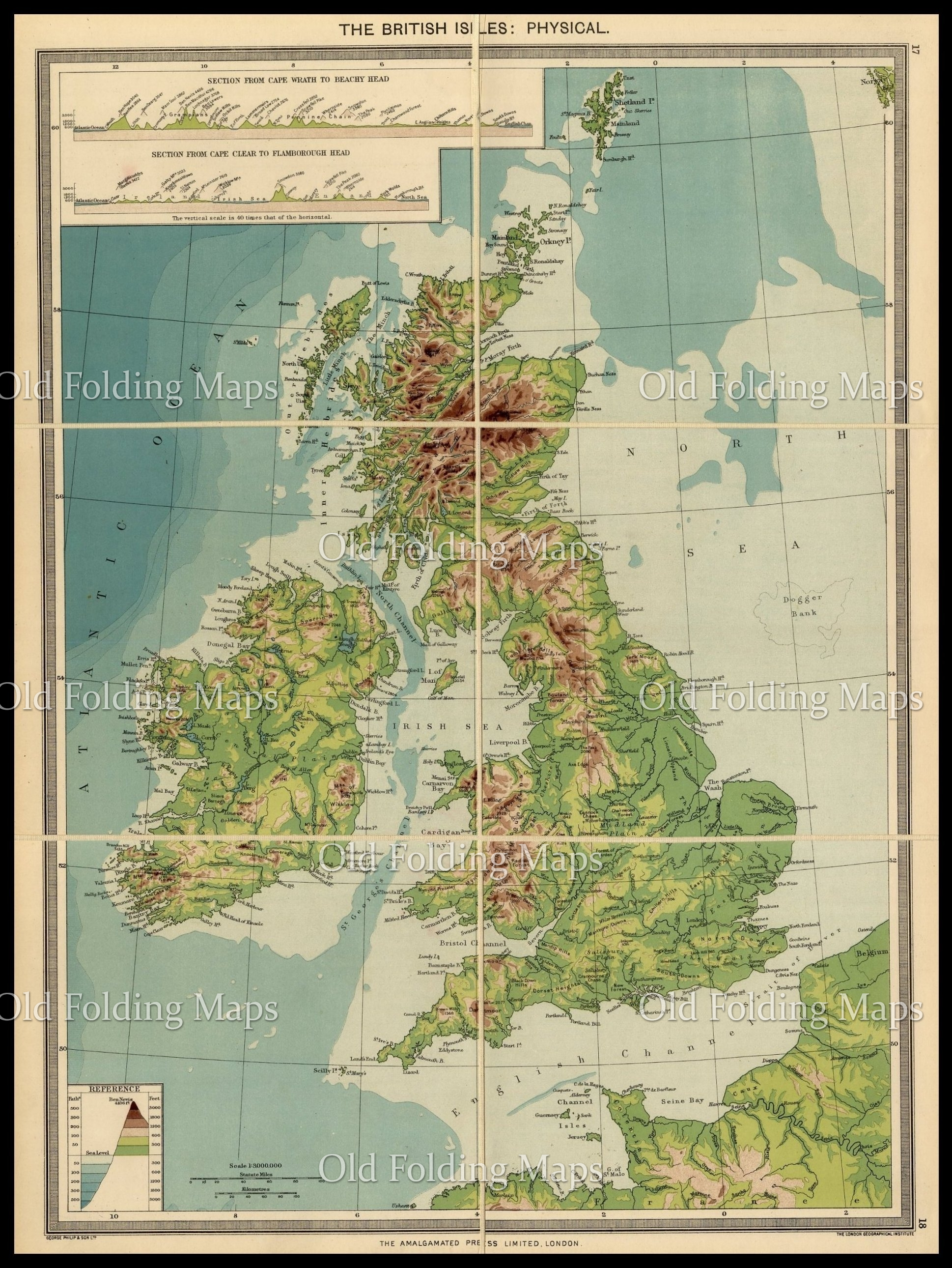 Old Map of The British Isles - Physical circa 1900