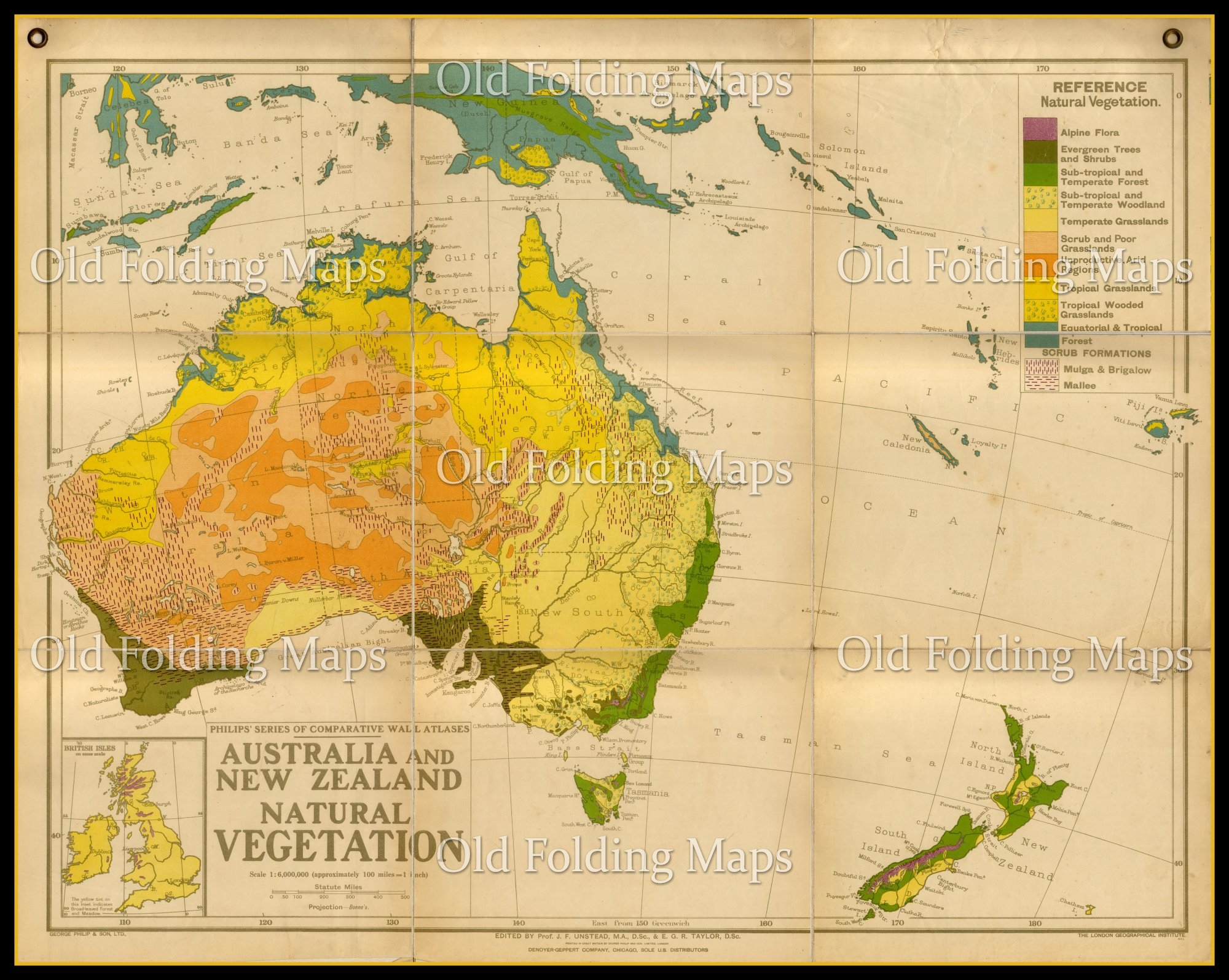 Old Wall Map of Australia & New Zealand Natural Vegetation circa 1930