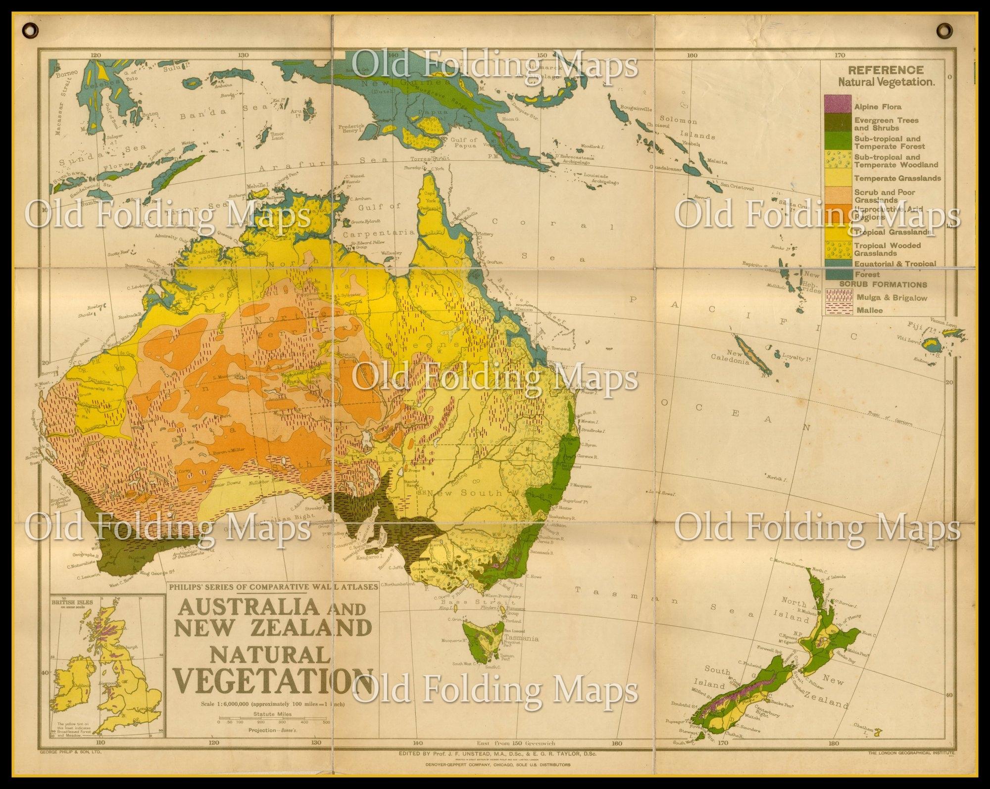 Map Of Australia Vs Uk.Old Wall Map Of Australia And New Zealand Natural Vegetation Circa 1930