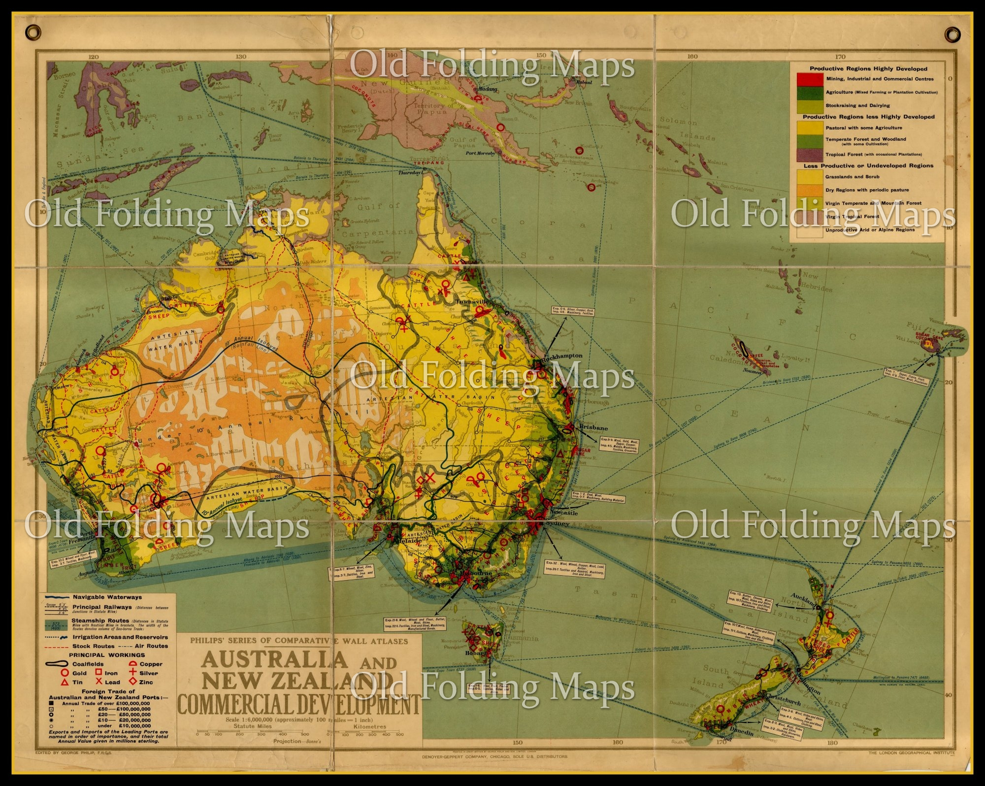 Australia Map New Zealand.An Antique Wall Map Of Australia New Zealand Commercial