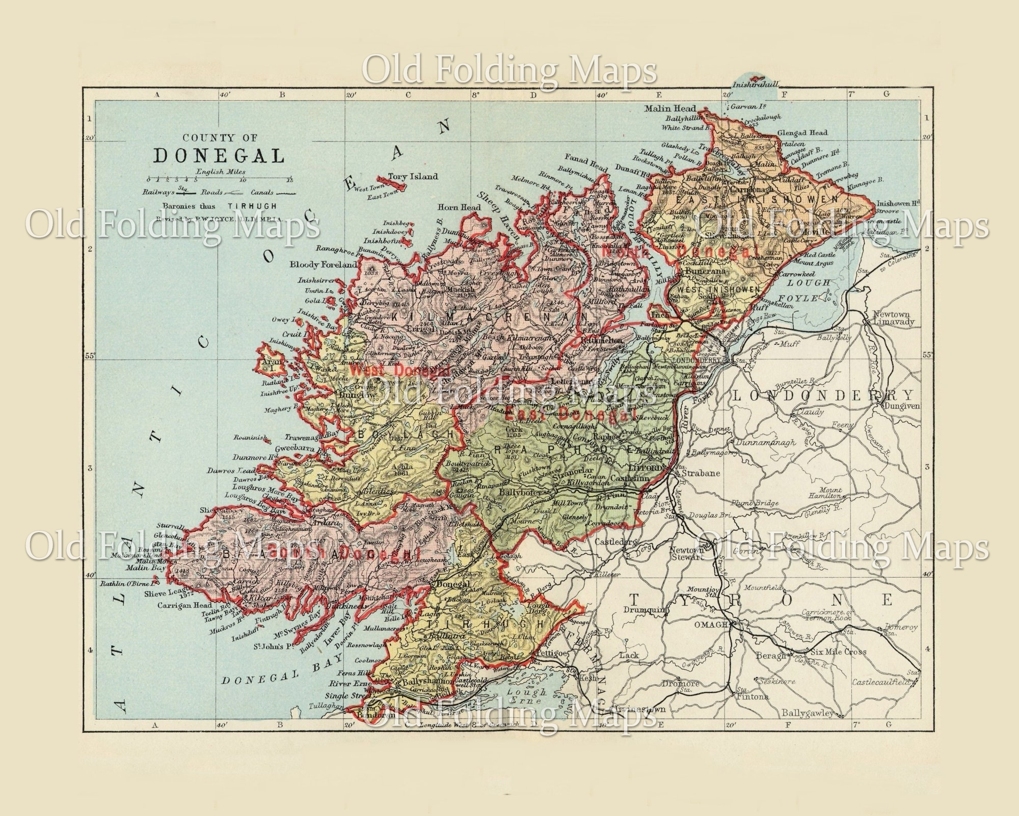 Antique County Map of Donegal, Ireland circa 1884