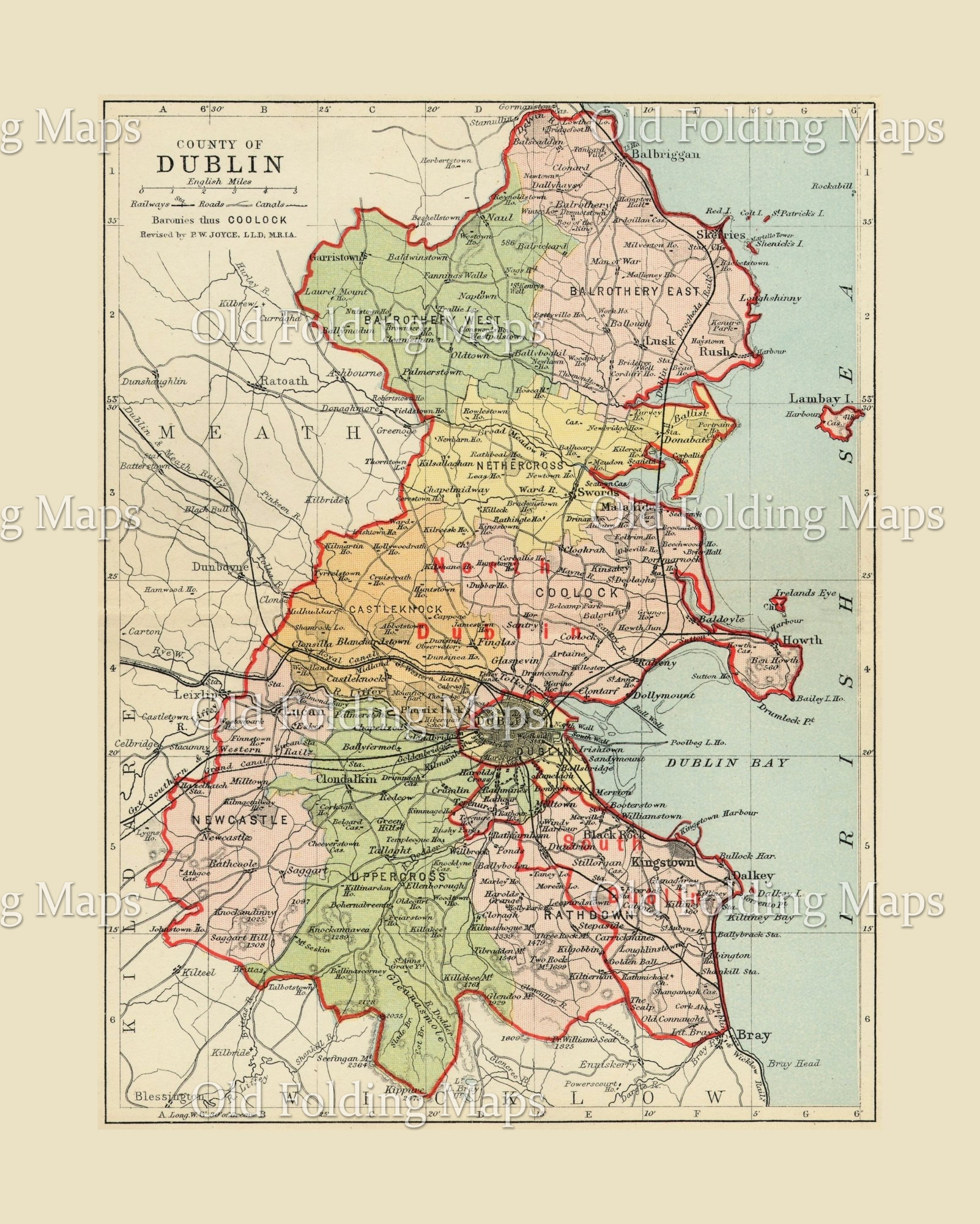 Antique County Map of Dublin, Ireland circa 1884