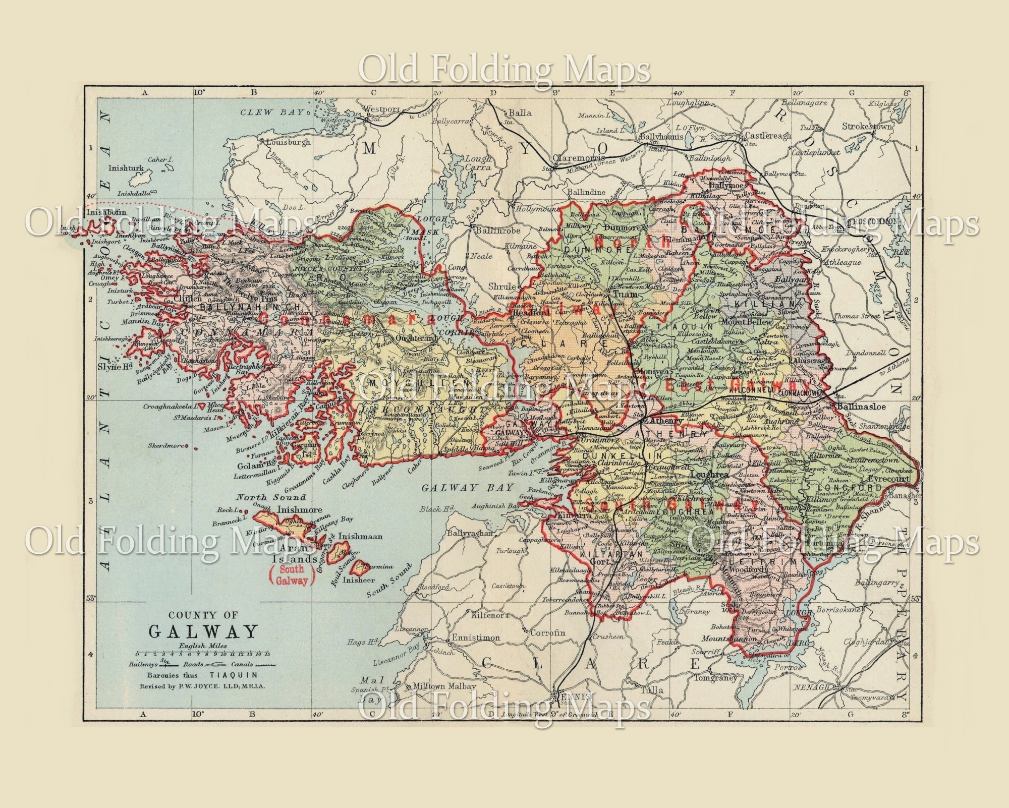 Antique County Map Of Galway Ireland Circa 1884