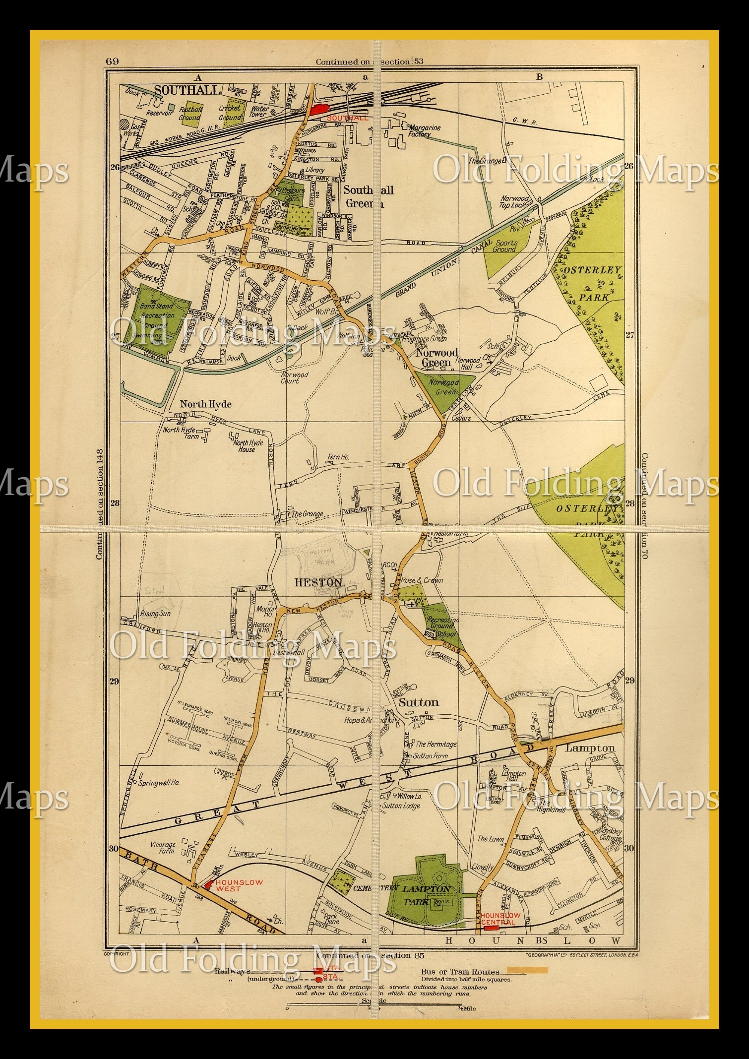 Old London Map of Southall, Heston & Sutton circa 1930's