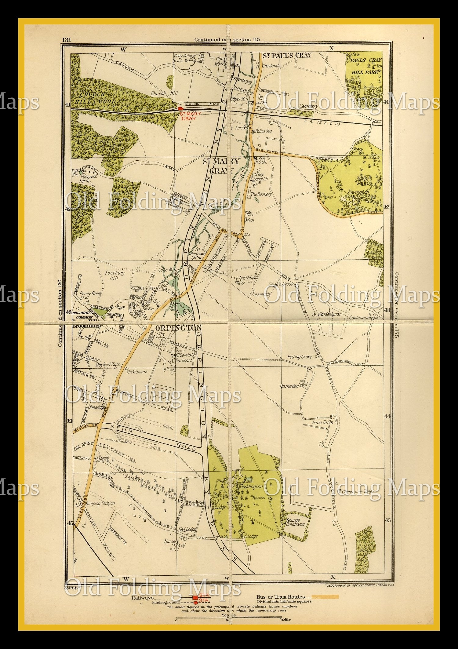 Old London Map of St Mary Cray & Orpington circa 1930's
