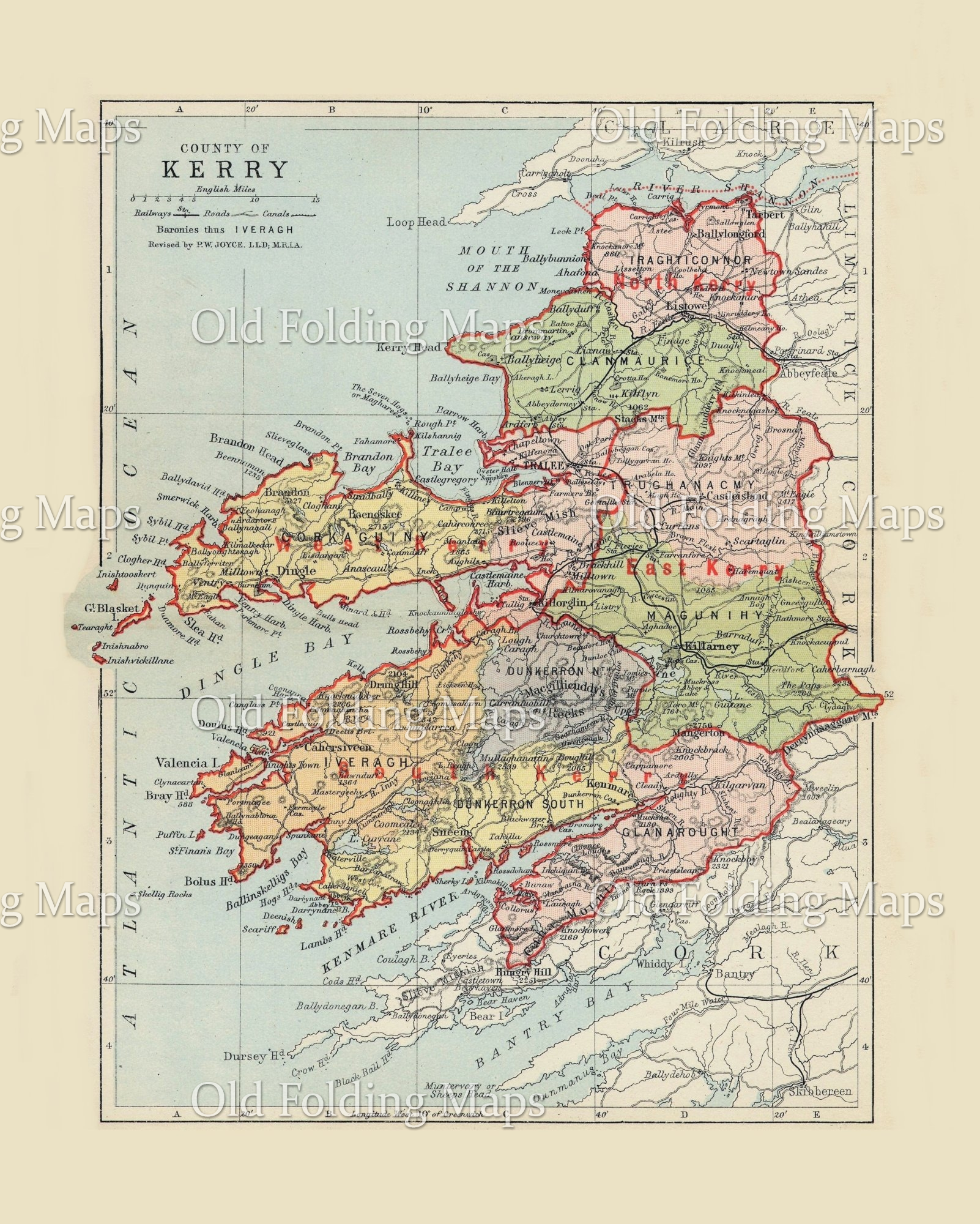 Antique County Map of Kerry, Ireland circa 1884