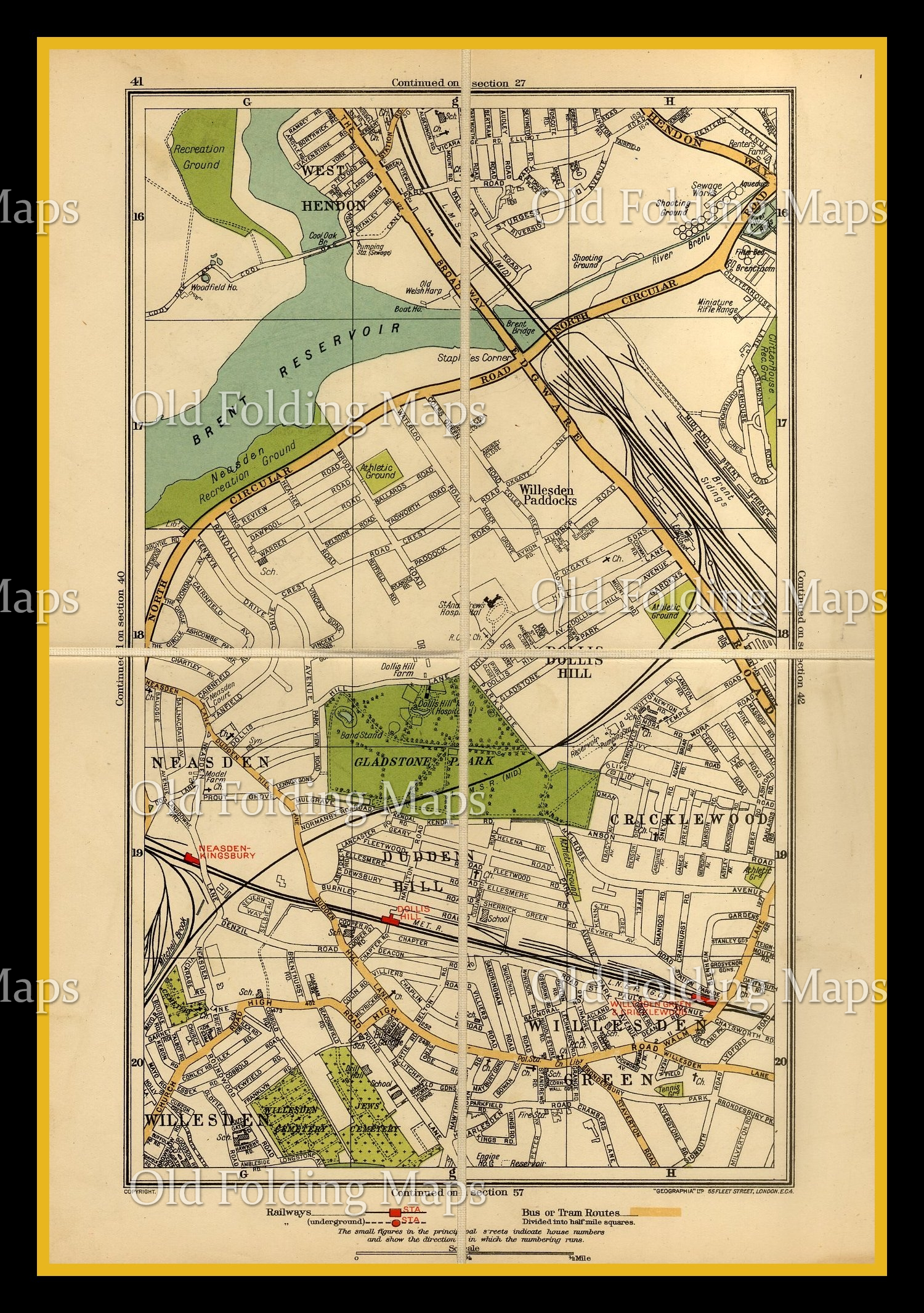 Old London Map of Brent, Dollis Hill & Willesden Green circa 1930's