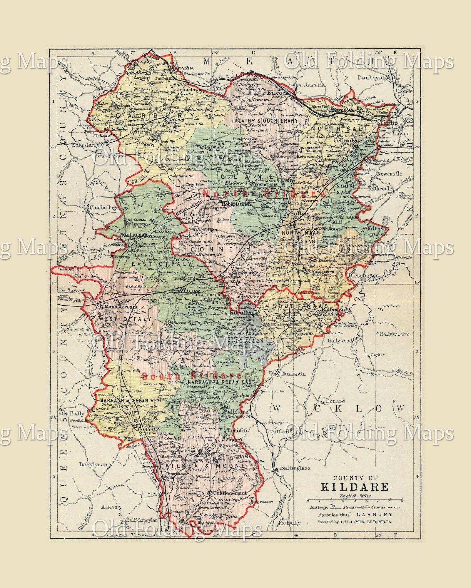 Antique County Map Of Kildare Ireland Circa 1884
