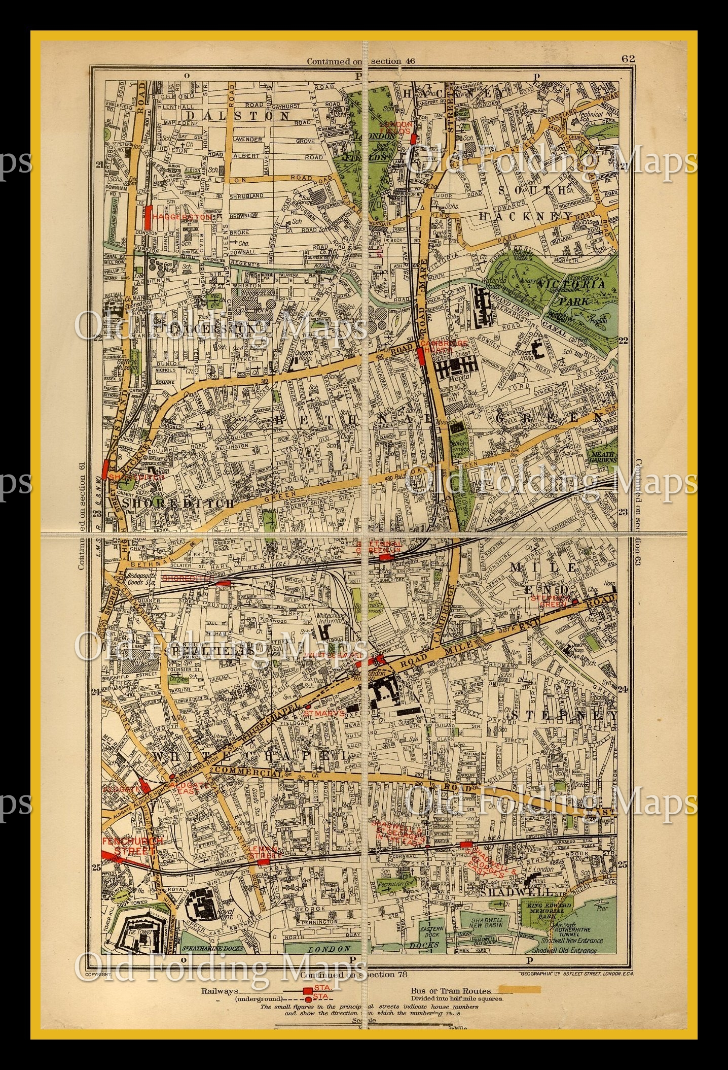 Old London Map Of Dalston Shoreditch Spital Fields Circa 1930 S
