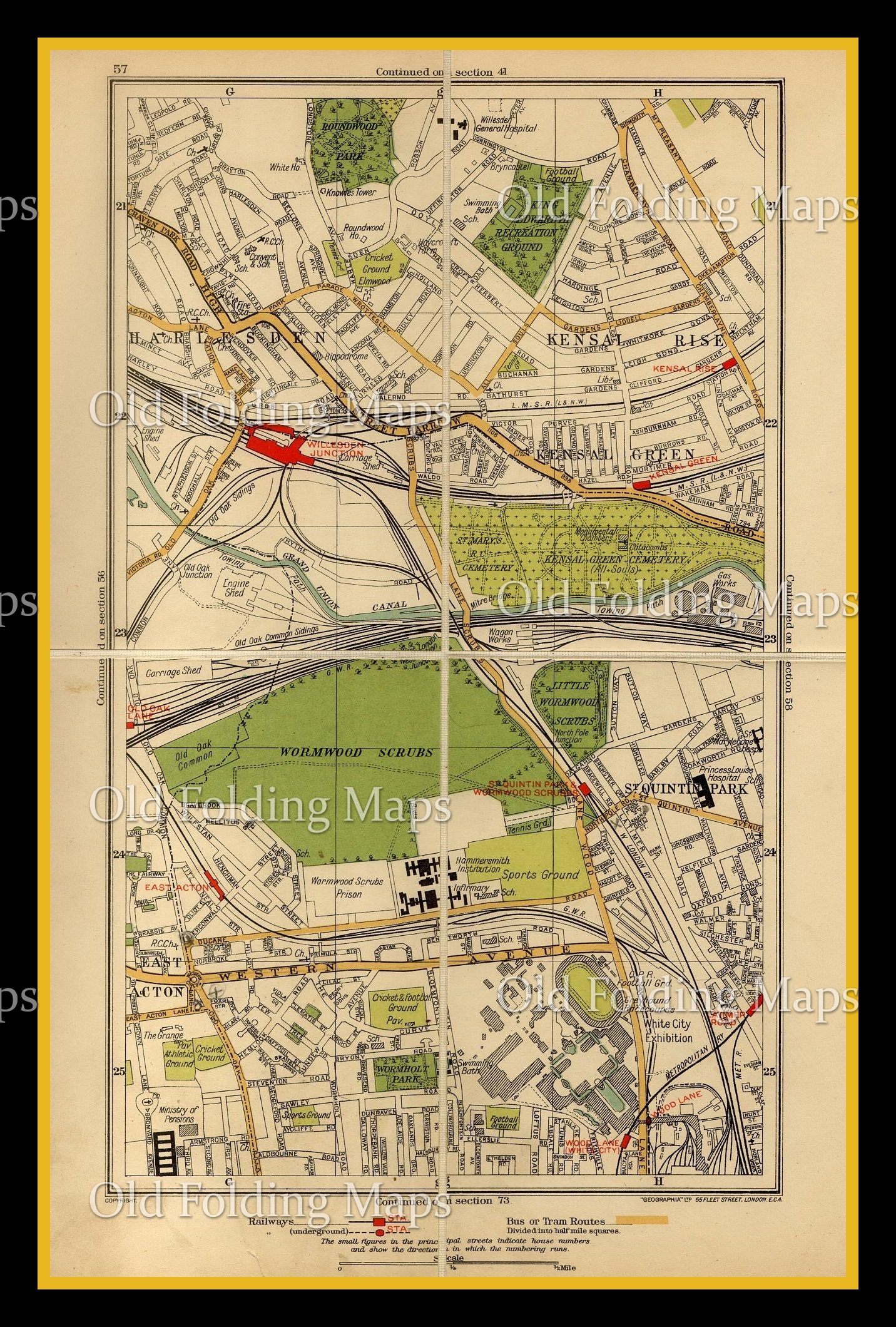 Old Street London Map.Old London Map Of Harlesden St Quintin Park Acton Circa 1930 S
