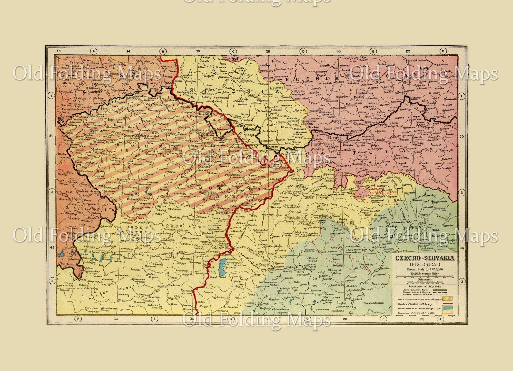 World War One map of Czecho-Slovakia - 1914