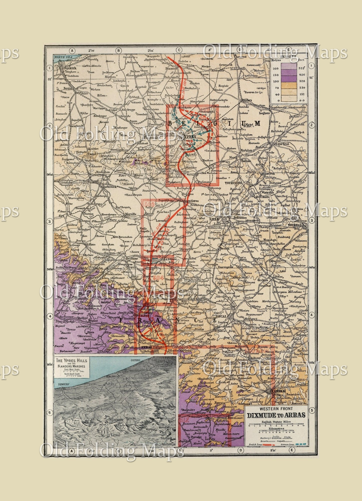 Map Of Western France.World War One Map Of The Western Front Dixmunde To Arras Belgium