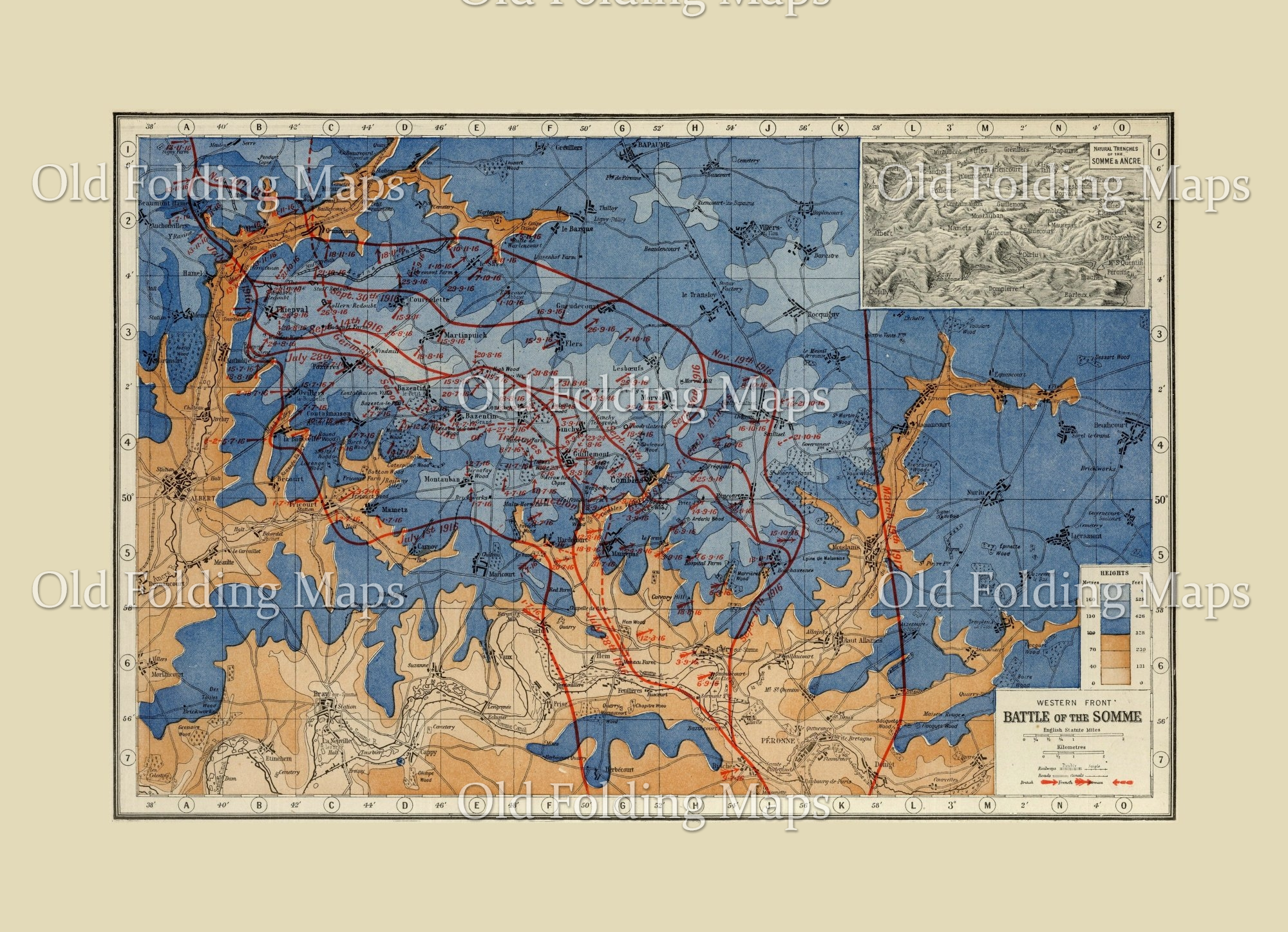 World War One map of the Western Front Battle of the Somme, France - 1916