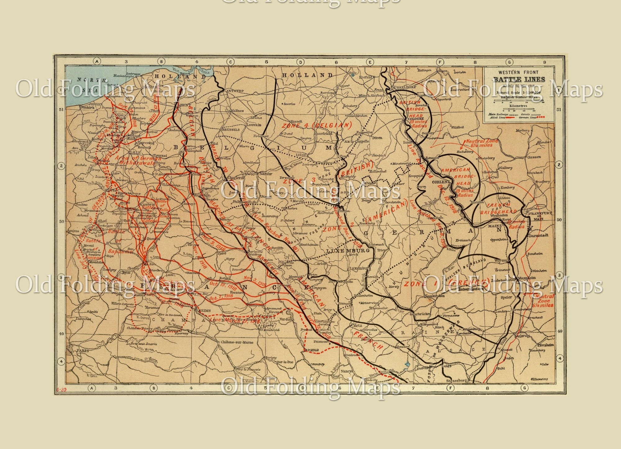 World War One Map Of The Western Front Battle Lines Germany France