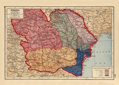 World War One Map Of Romania Rumania 1914 1918