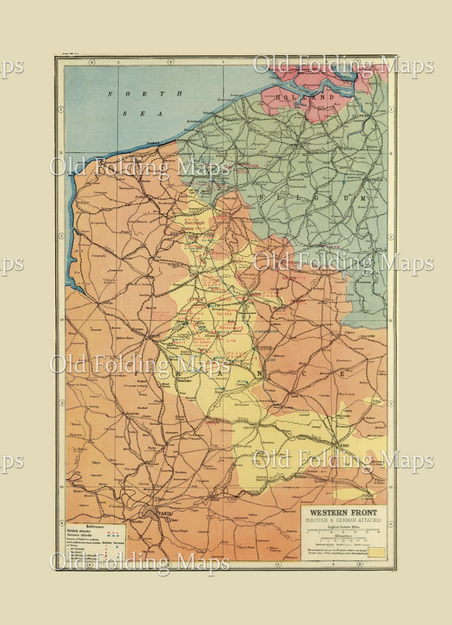 World War One Map Of The Western Front France Belgium 1914 1918