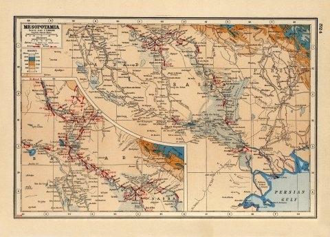 World War One map of Mesoptamia (Iraq) - 1914 - 1918