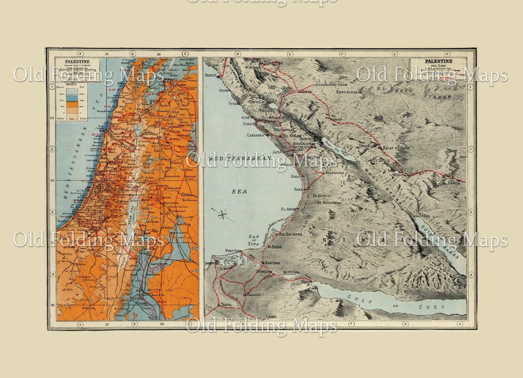 World War One map of Palestine & the Sinai, Egypt - 1914 - 1918