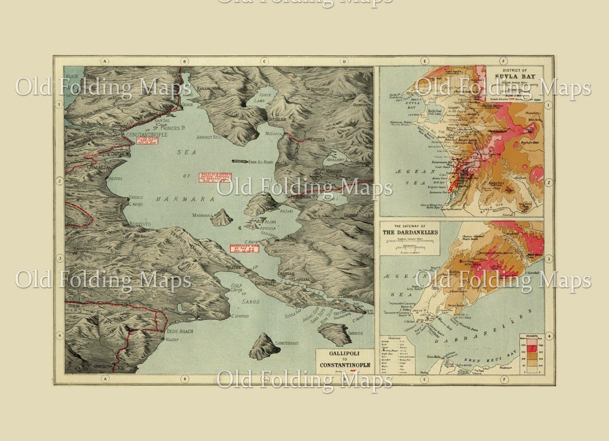 World War One map of Gallipoli & the Dardanelles, Turkey - 1914 on