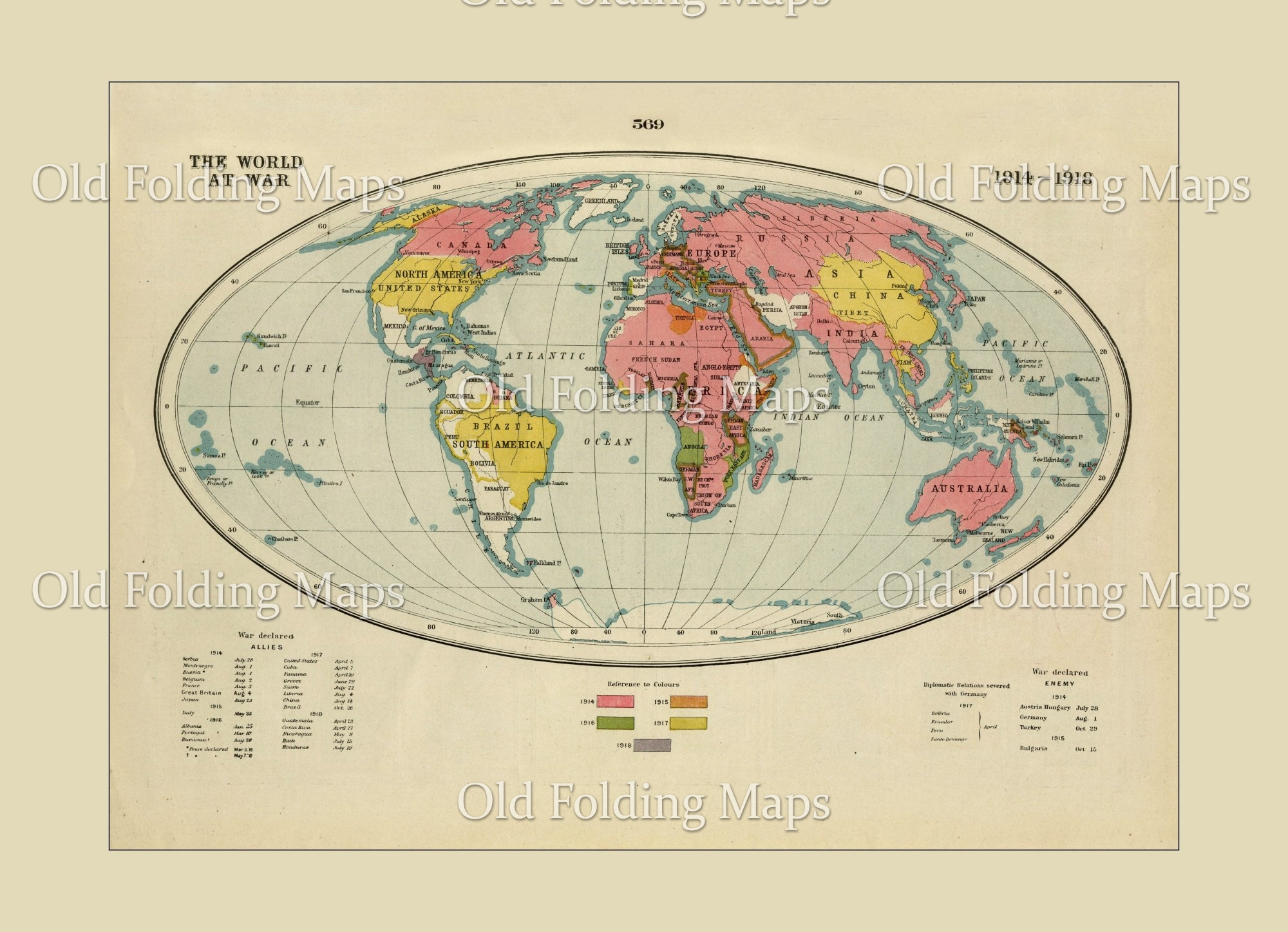 World War One map of The World At War -1914 - 1918