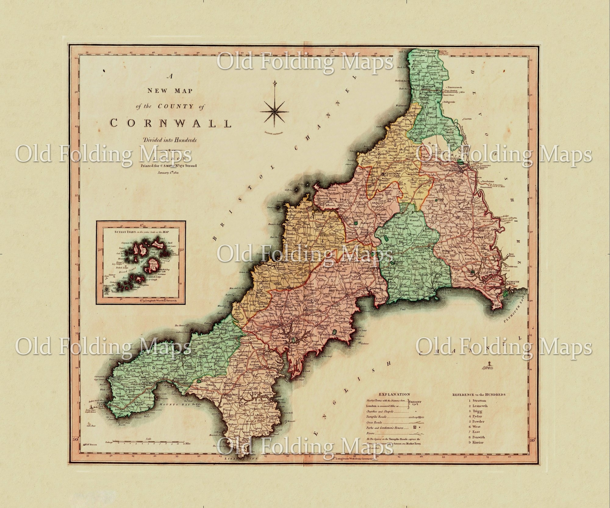 Antique County Map of Cornwall circa 1800