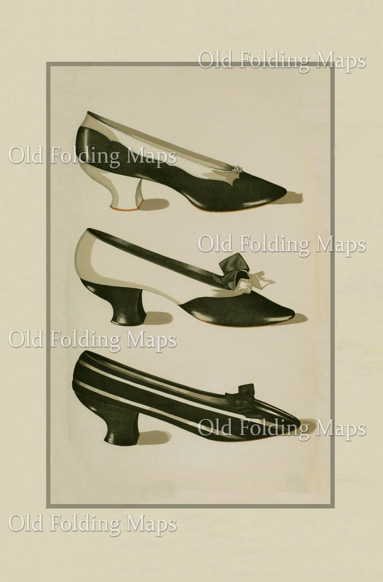 Antique Illustration of Shoes Black & White circa 1900