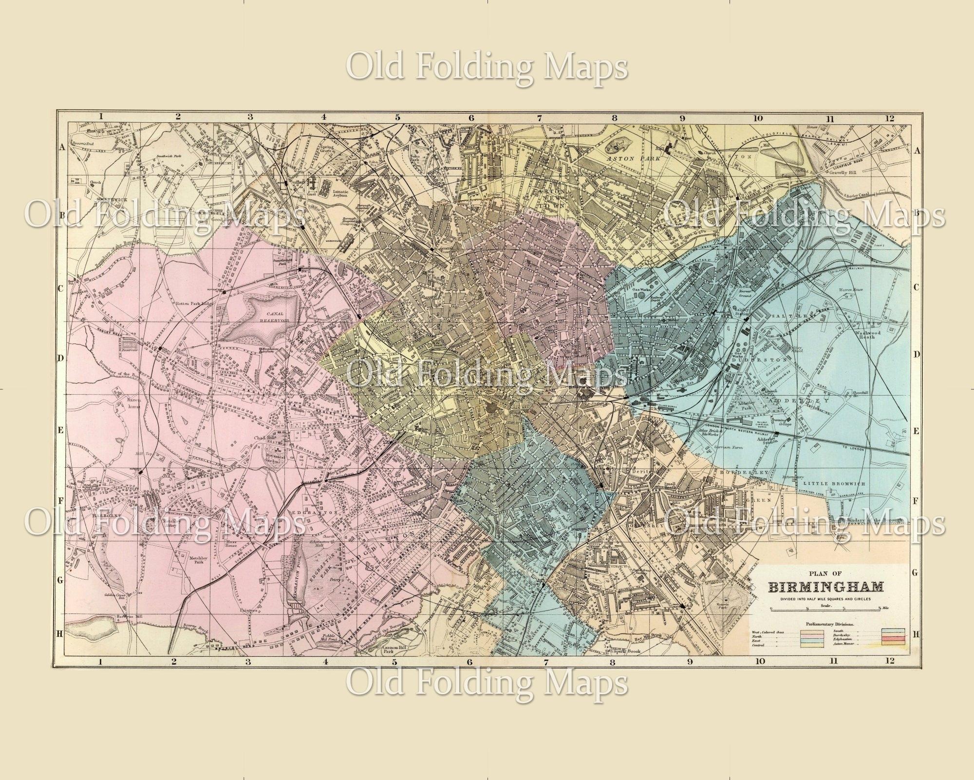 Map Of Uk Birmingham.Old Map Of Birmingham England Circa 1885