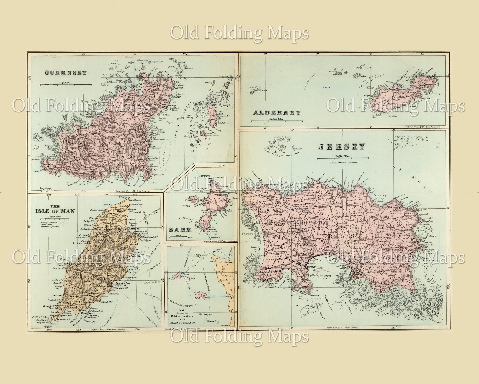 Old Map of the Channel Islands, UK circa 1885
