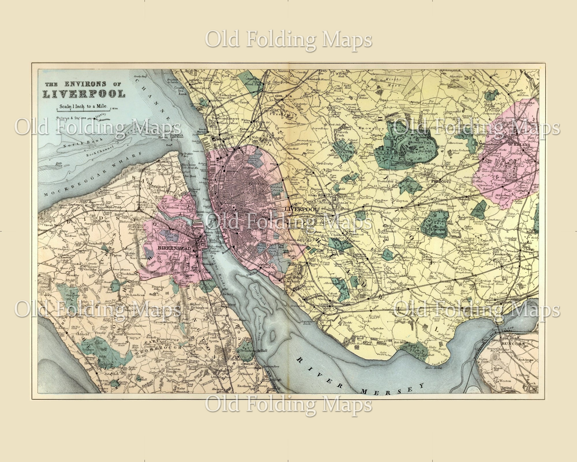 Old map of Liverpool, England circa 1885