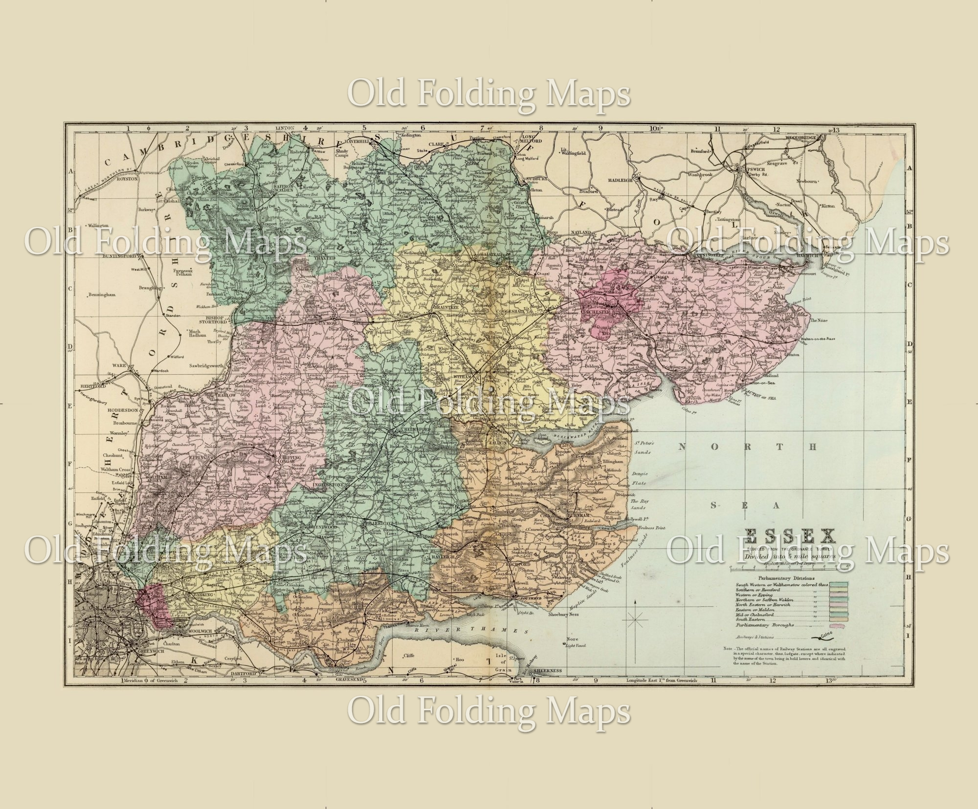 Antique County Map of Essex circa 1885