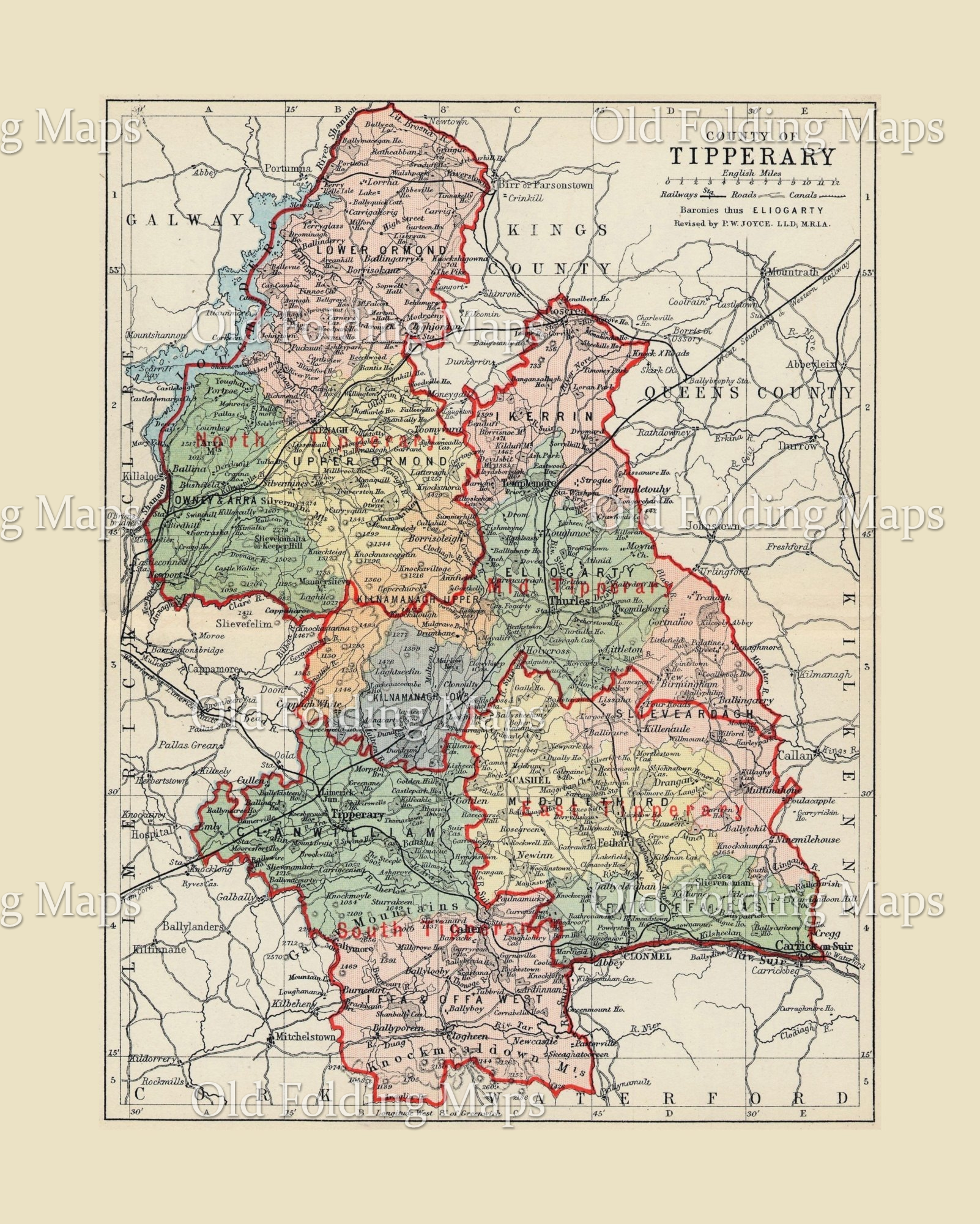 County Tipperary Ireland Map.Antique County Map Of Tipperary Ireland Circa 1884