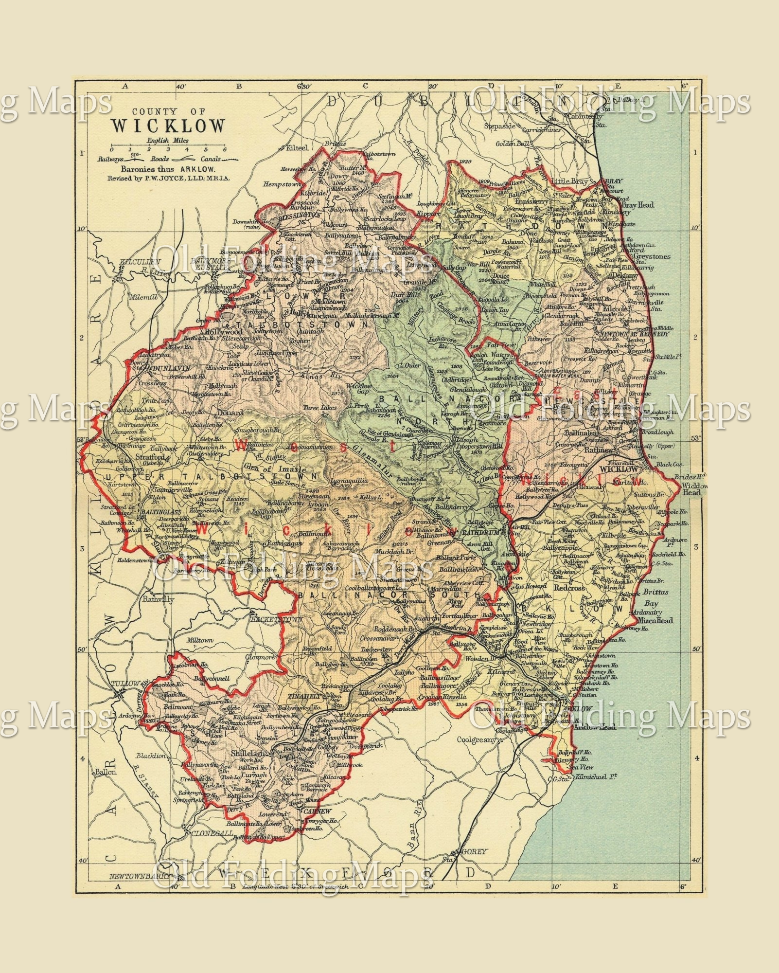 Antique County Map of Wicklow, Ireland circa 1884