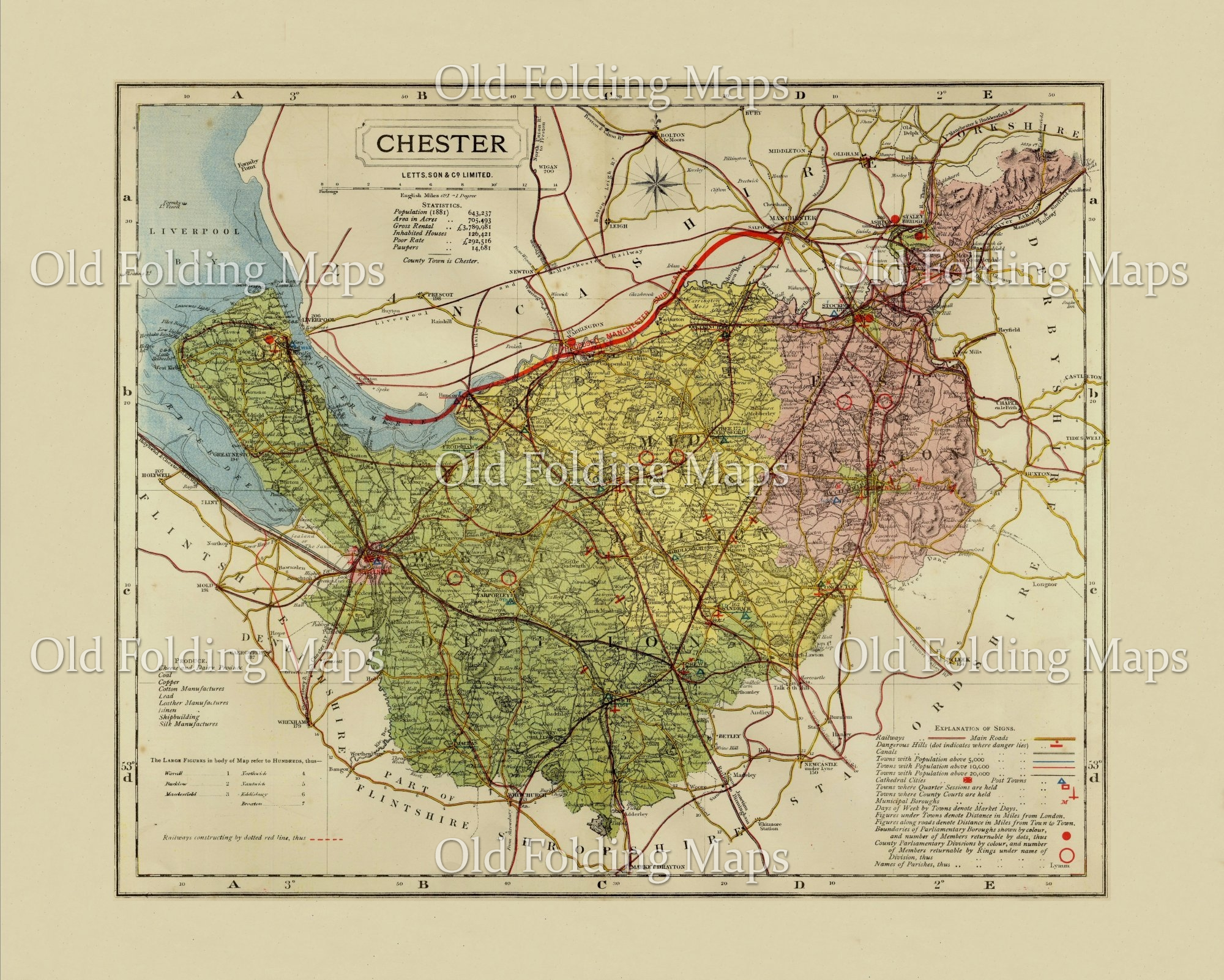 antique county map of cheshire circa 1884