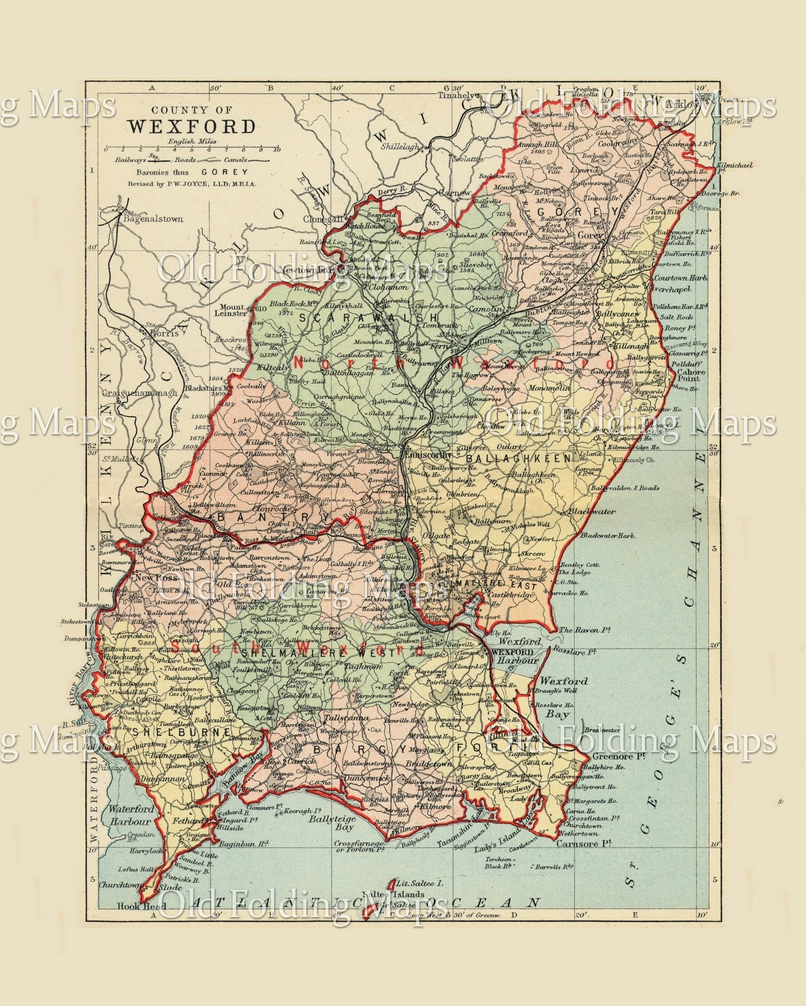 Wexford Map Of Ireland.Antique County Map Of Wexford Ireland Circa 1884
