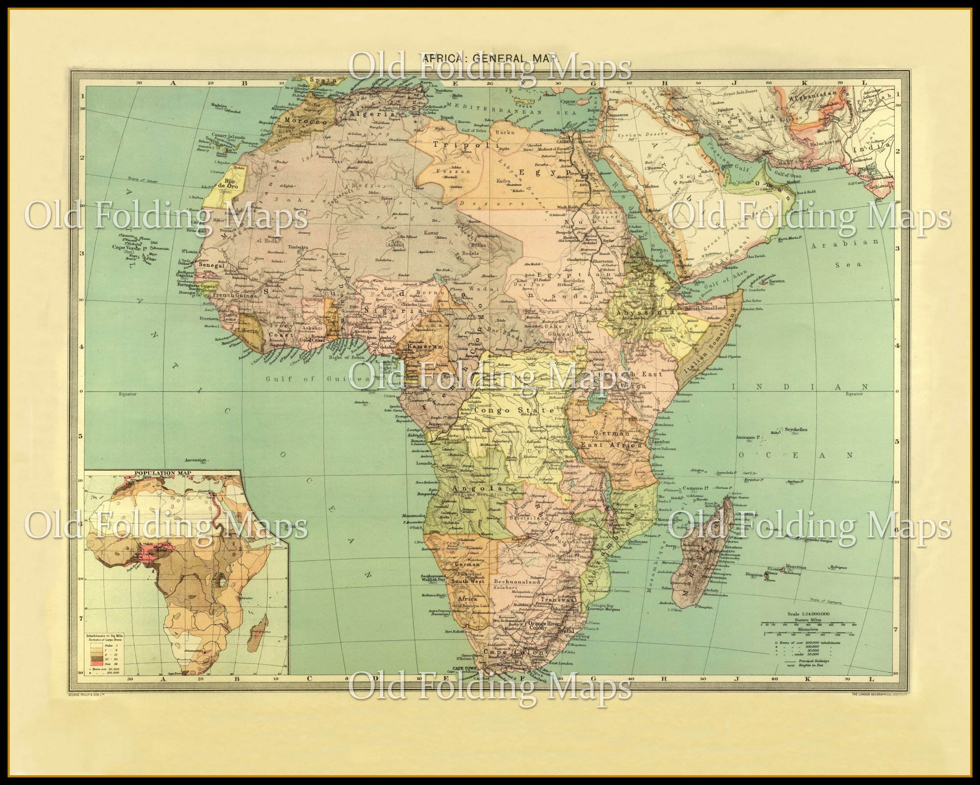 Map 1900.Old Map Of Africa Circa 1900