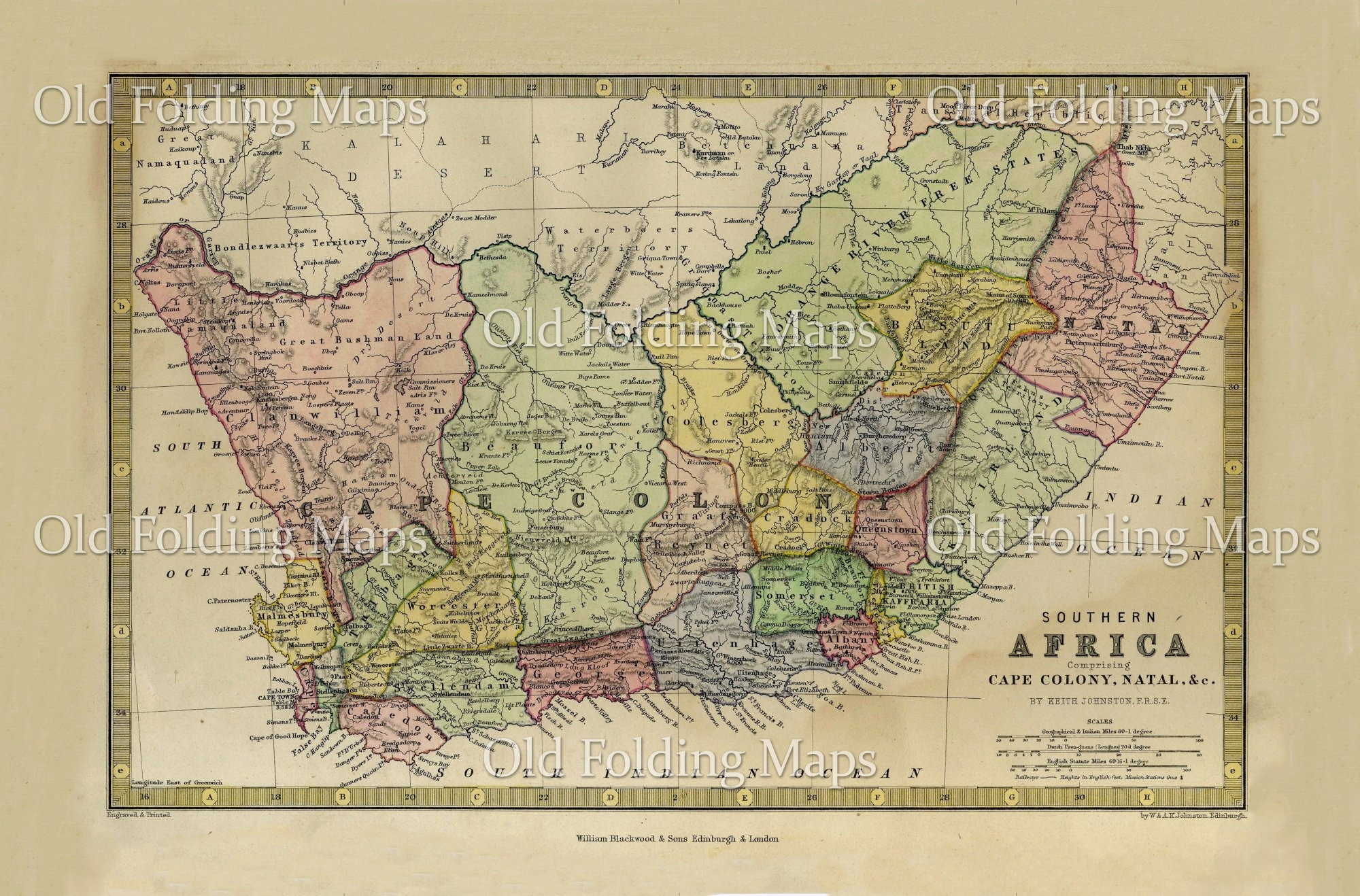 South Africa Old Map Old Map of South Africa circa 1875