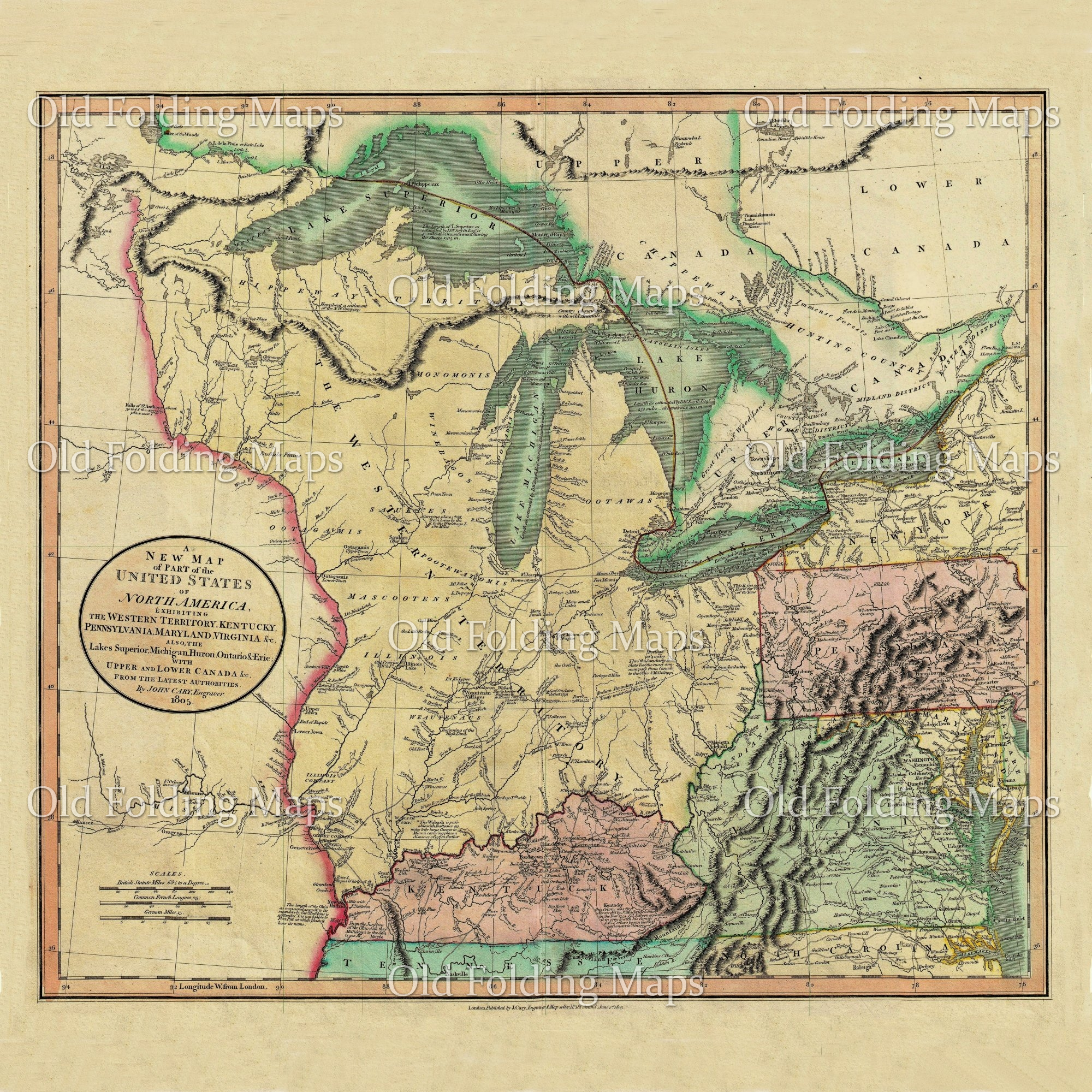 Old Map of America & Canada Great Lakes circa 1805