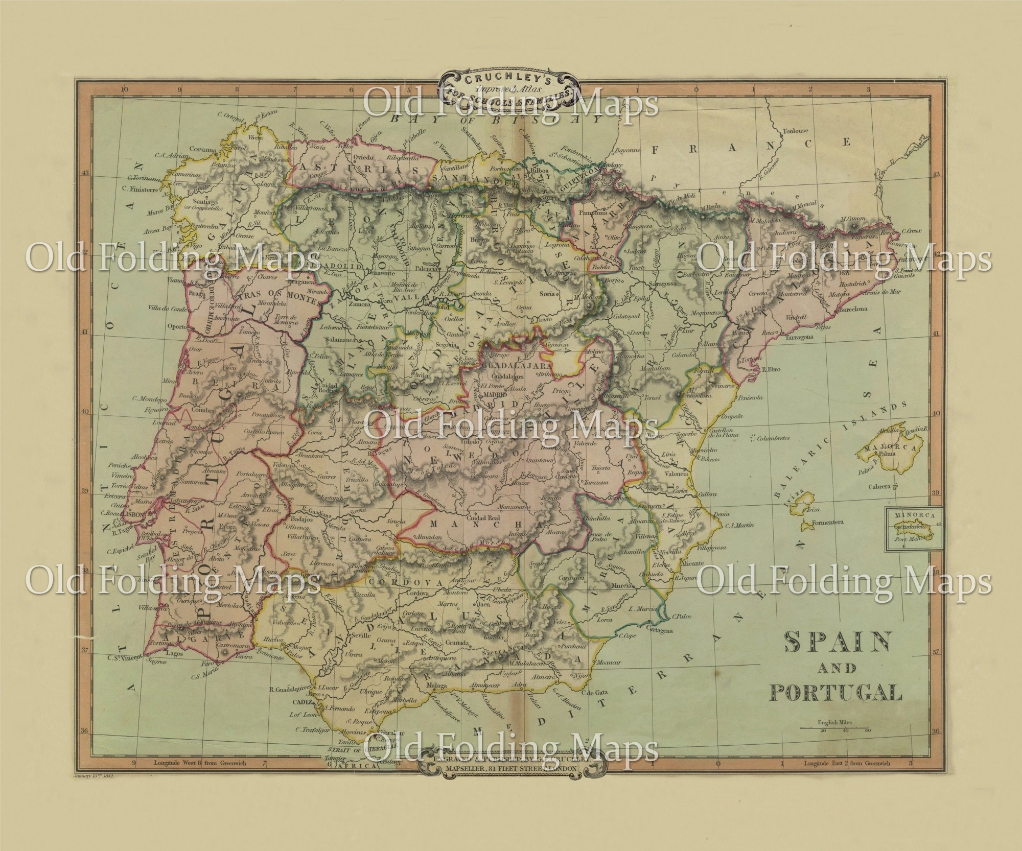 Map 24 Spain.Old Map Of Spain Portugal Circa 1841