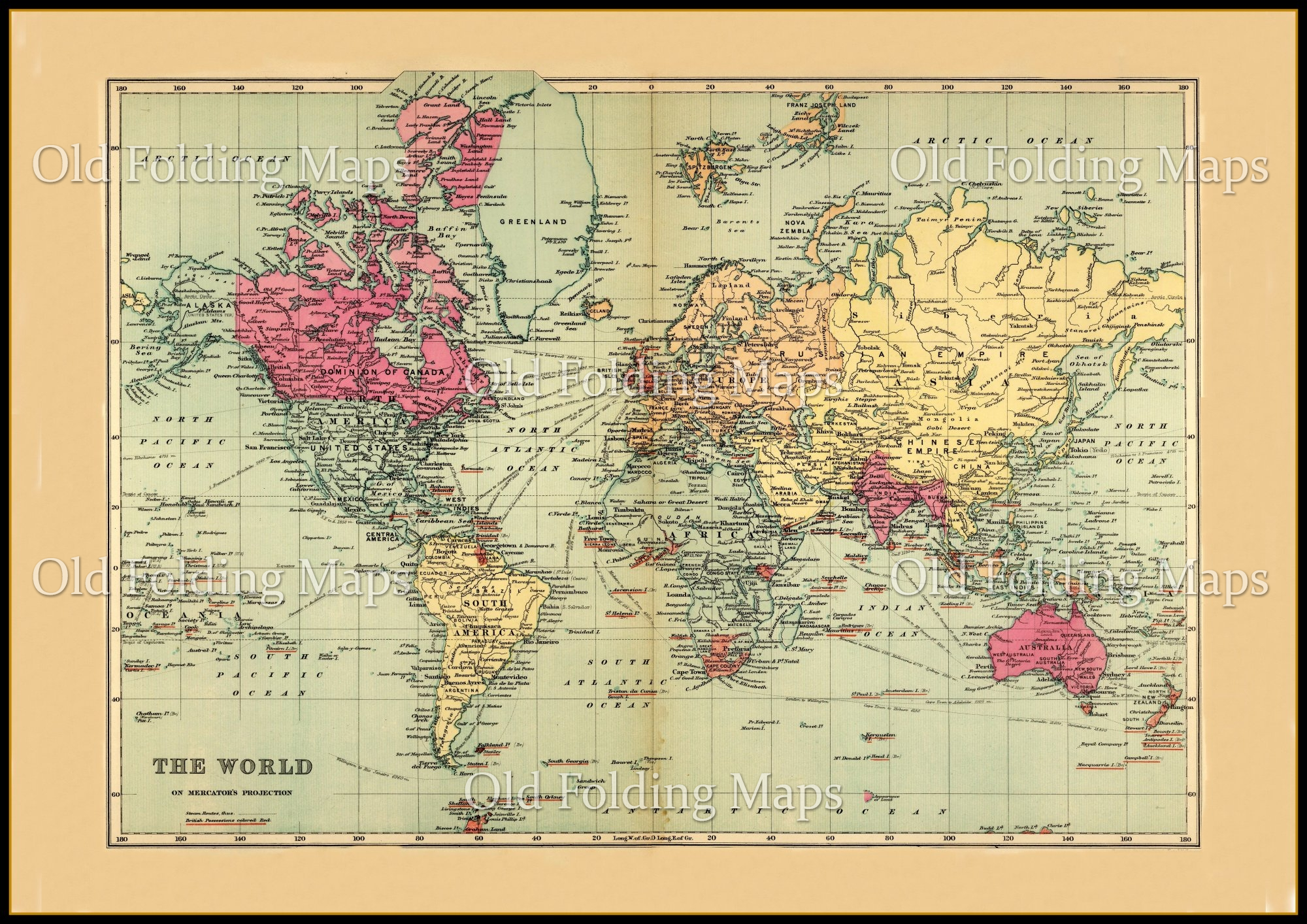World Map Watermark.Old Map Of The World Circa 1895