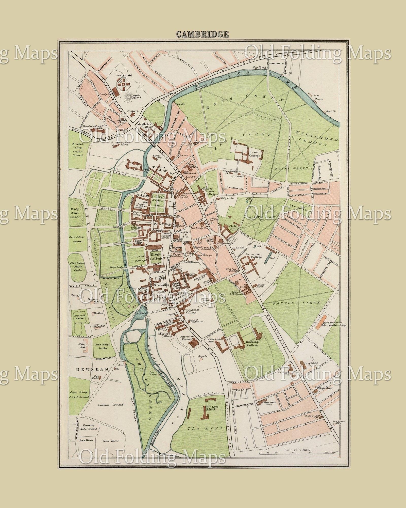 Map Of England 200.Old Map Of Cambridge England Circa 1895