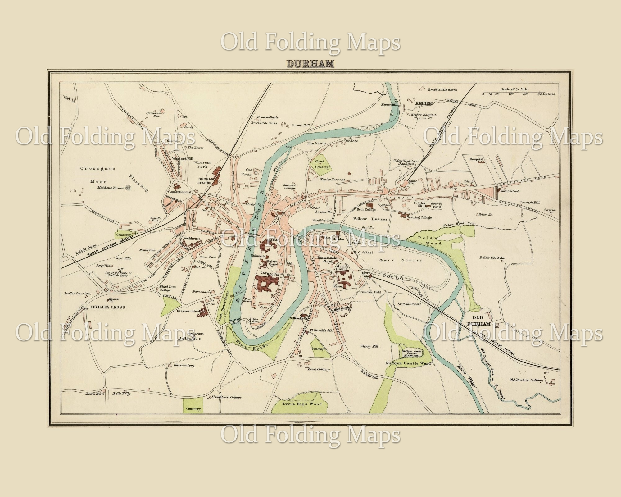 Old Map of Durham, England circa 1895