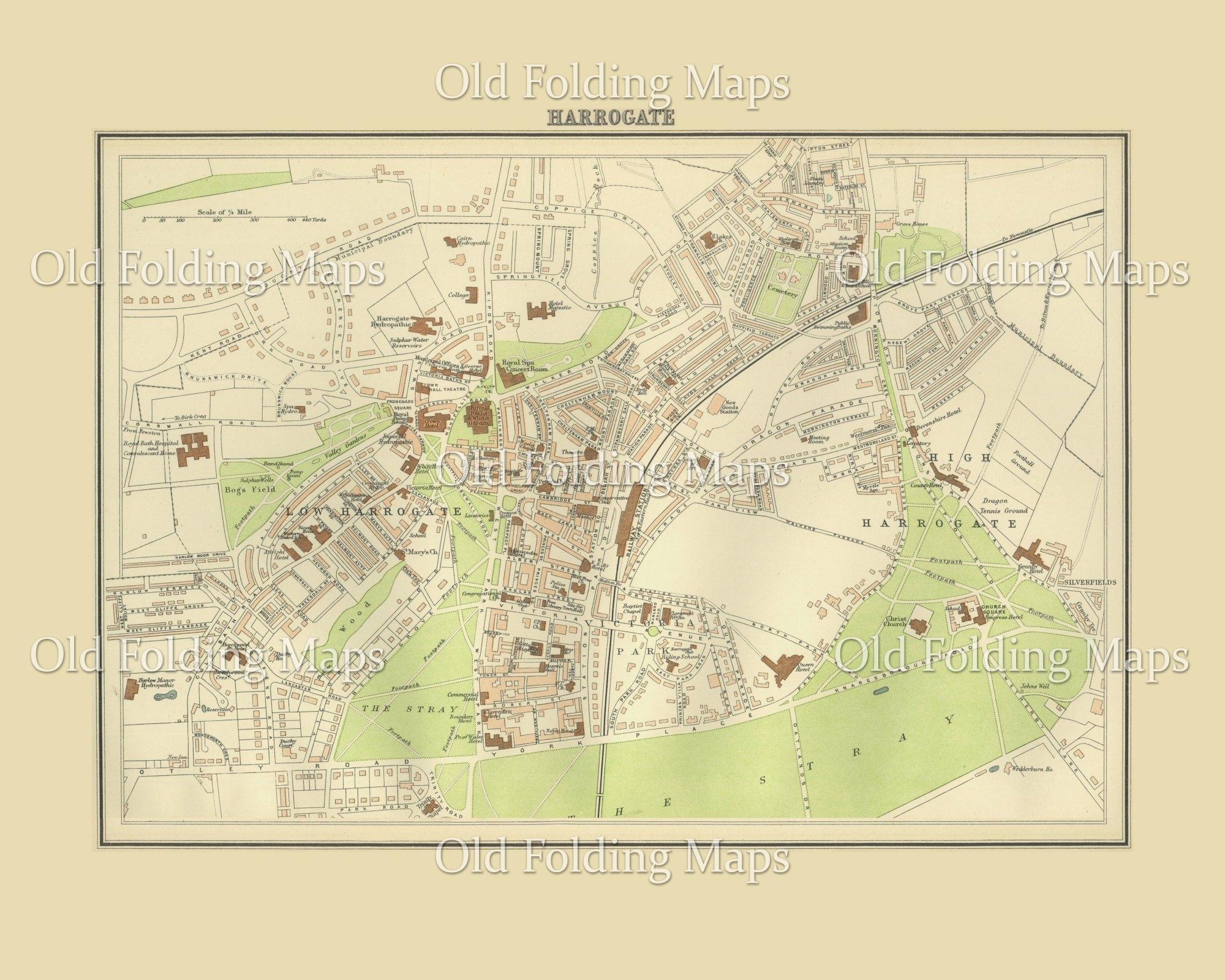 Harrogate England Map.Old Map Of Harrogate England Circa 1895