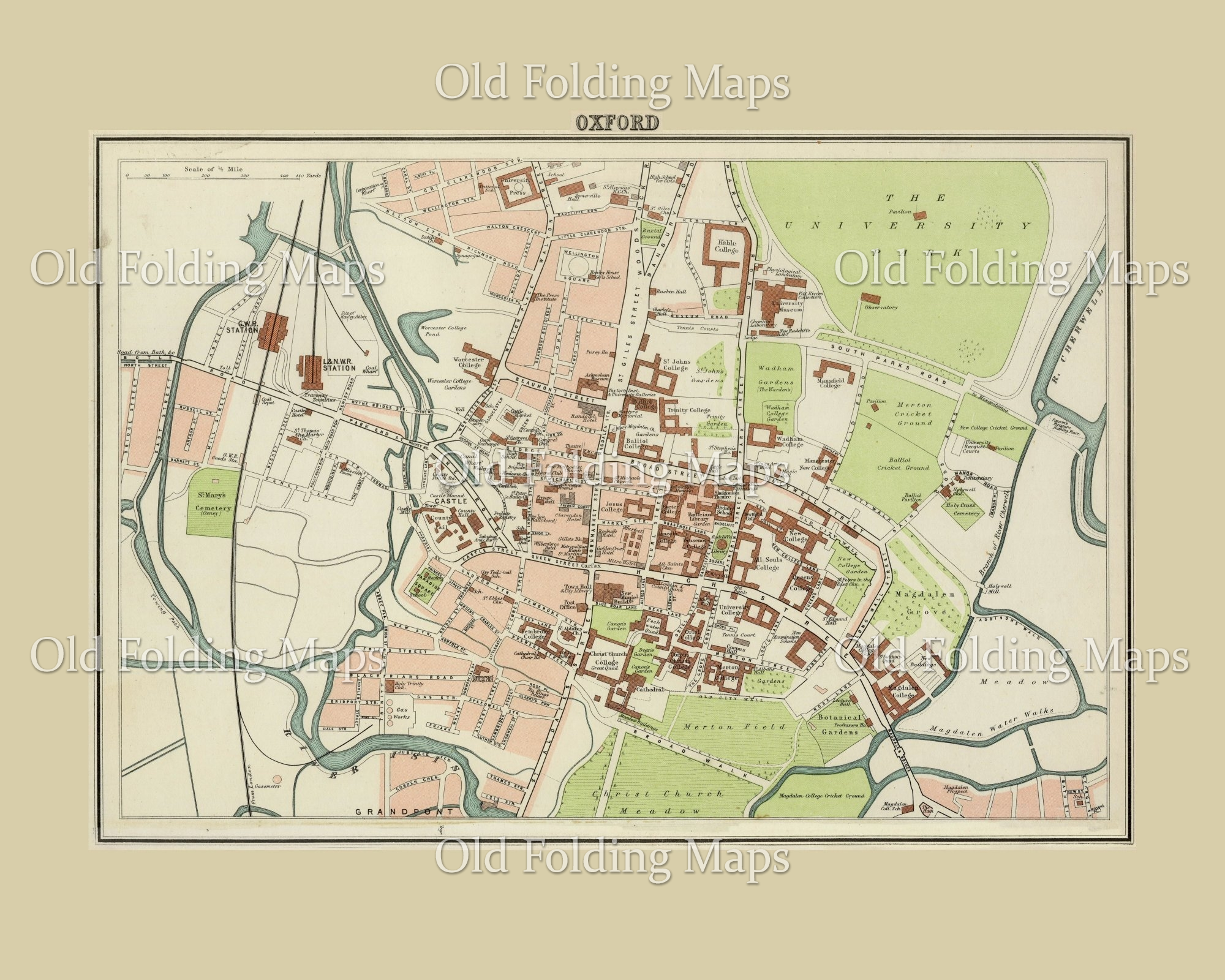 Old Map of Oxford, England circa 1895