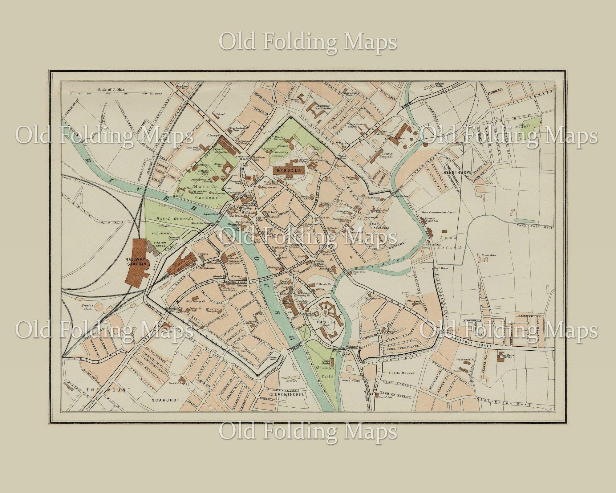 Map Of England Showing York.Old Map Of York England Circa 1895