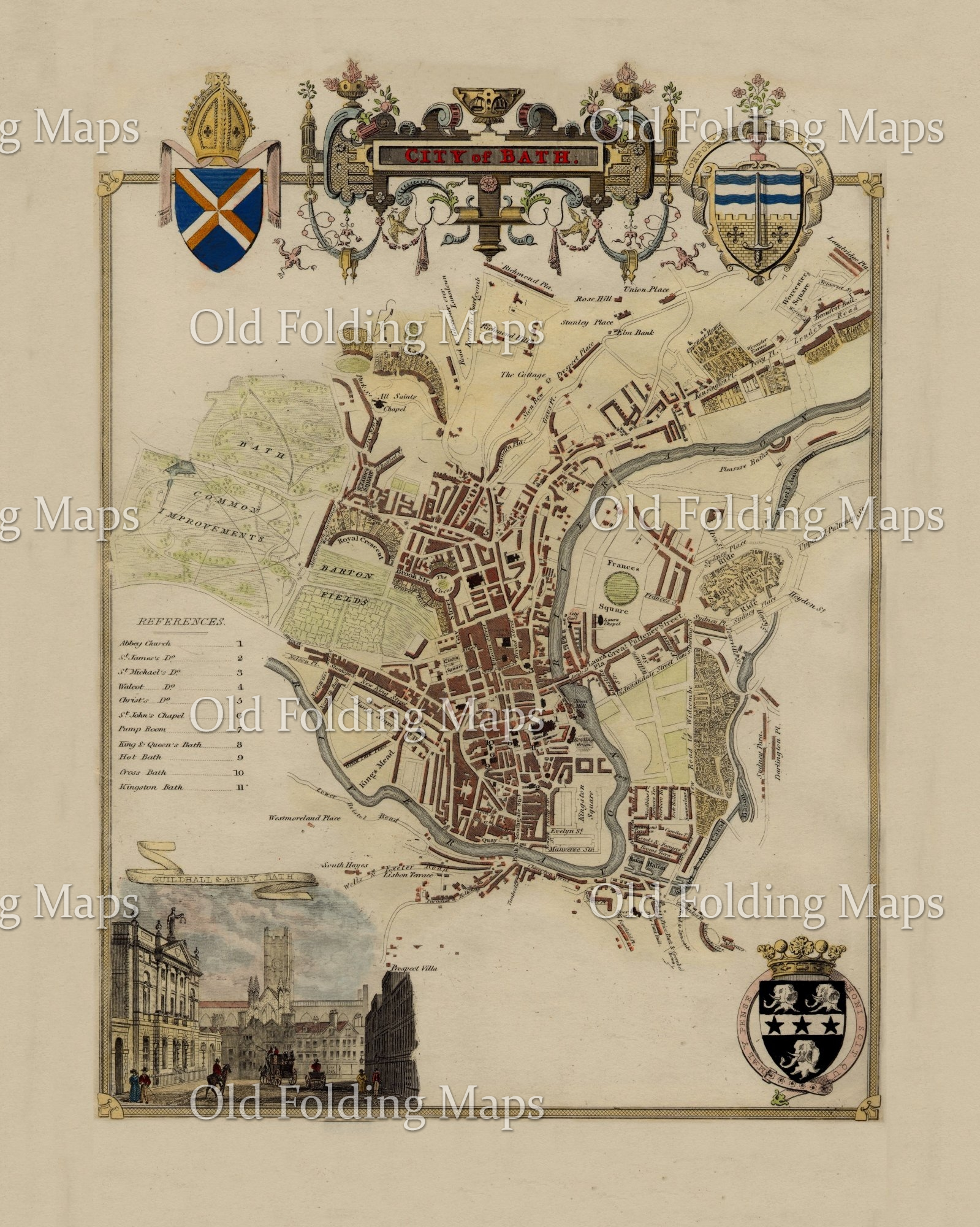 Old Map Of Bath Circa 1837