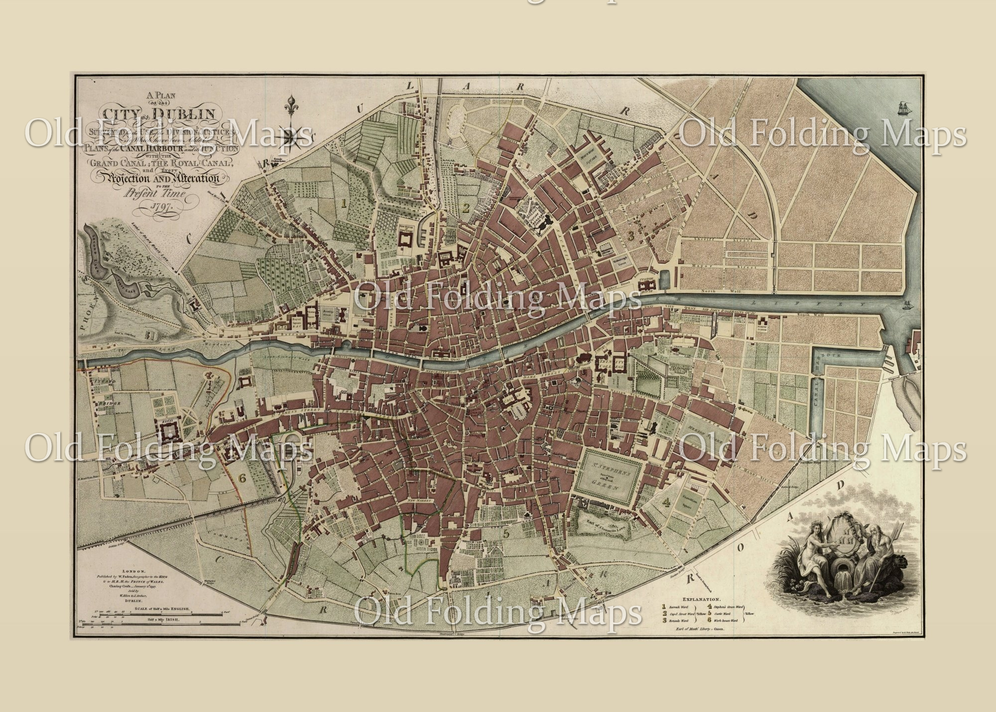 City Map Of Dublin Ireland.Old Map Of Dublin City Ireland Circa 1797