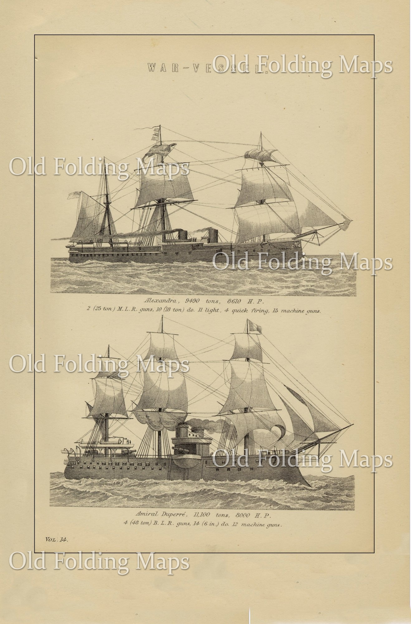 Antique Illustration of War Vessel I - Alexandra & Admiral Duperre circa 1880