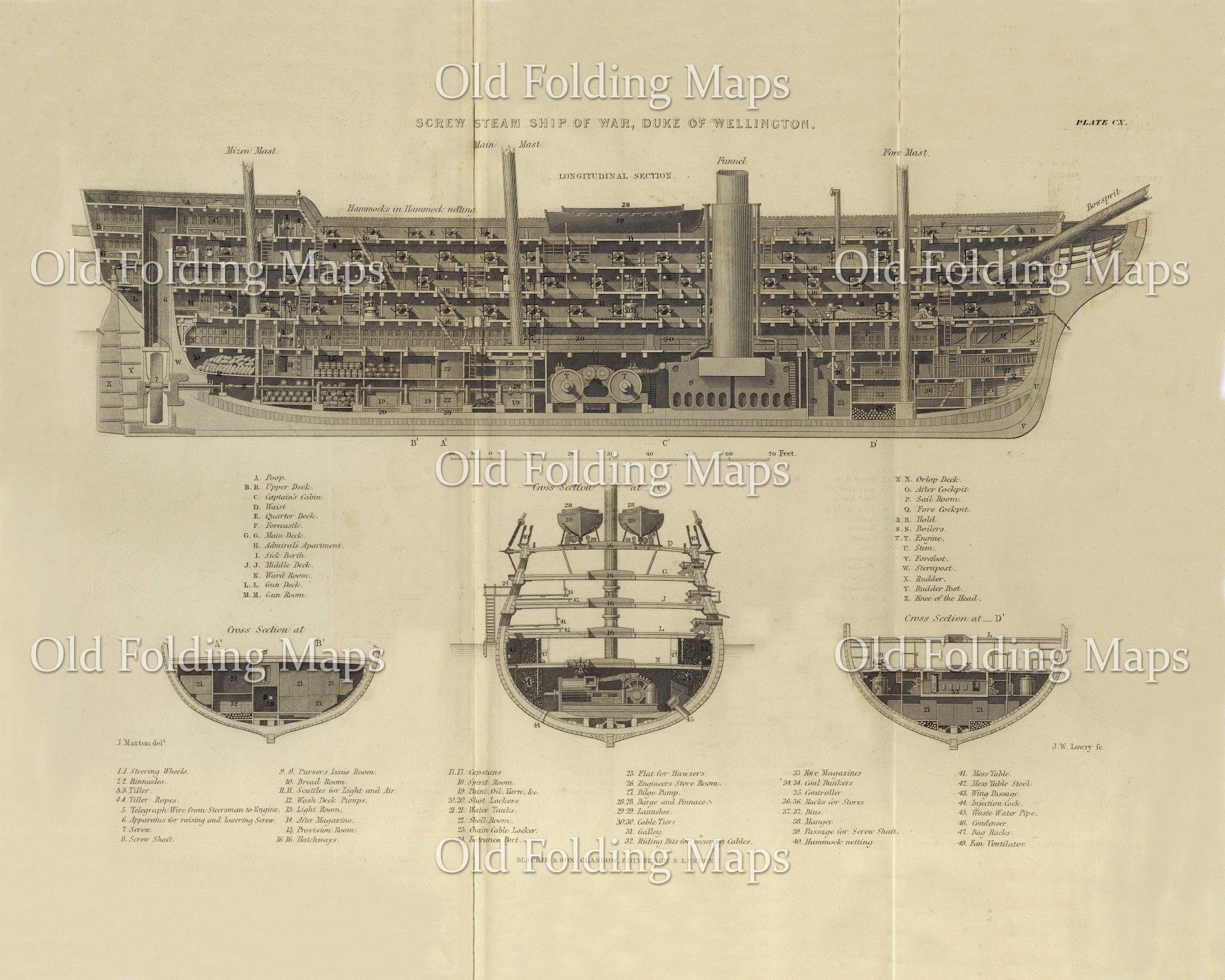 Antique Illustration of Steam Ship of War - Duke of Wellington on