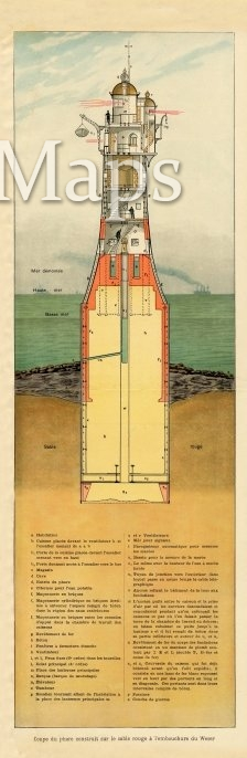 Antique Illustration of French Lighthouse circa 1900