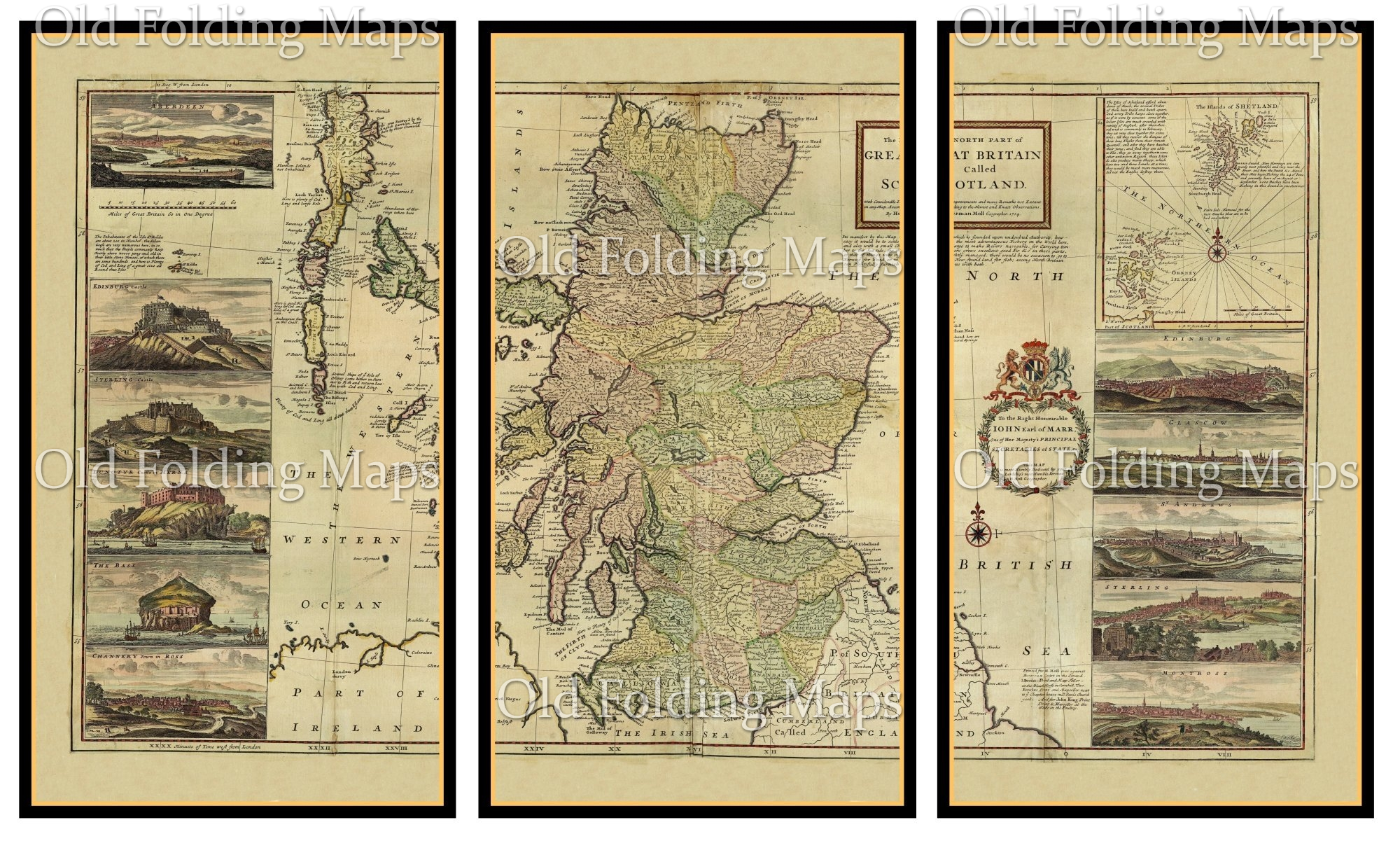 Old Map of Scotland (Triptych) circa 1714